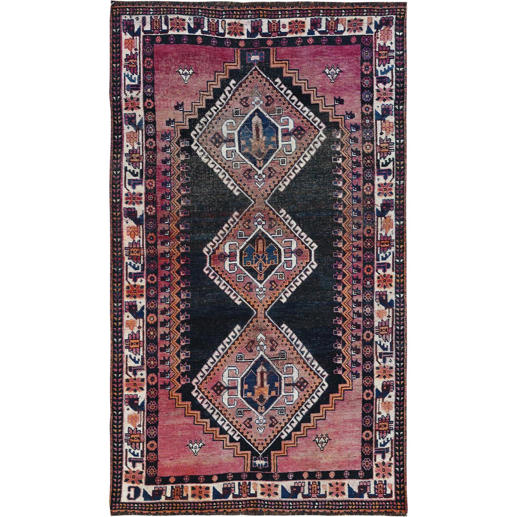 "4'2""x7'2"" Colorful Vintage Persian Qashqai with Cropped Thin Hand Knotted Oriental Rug"