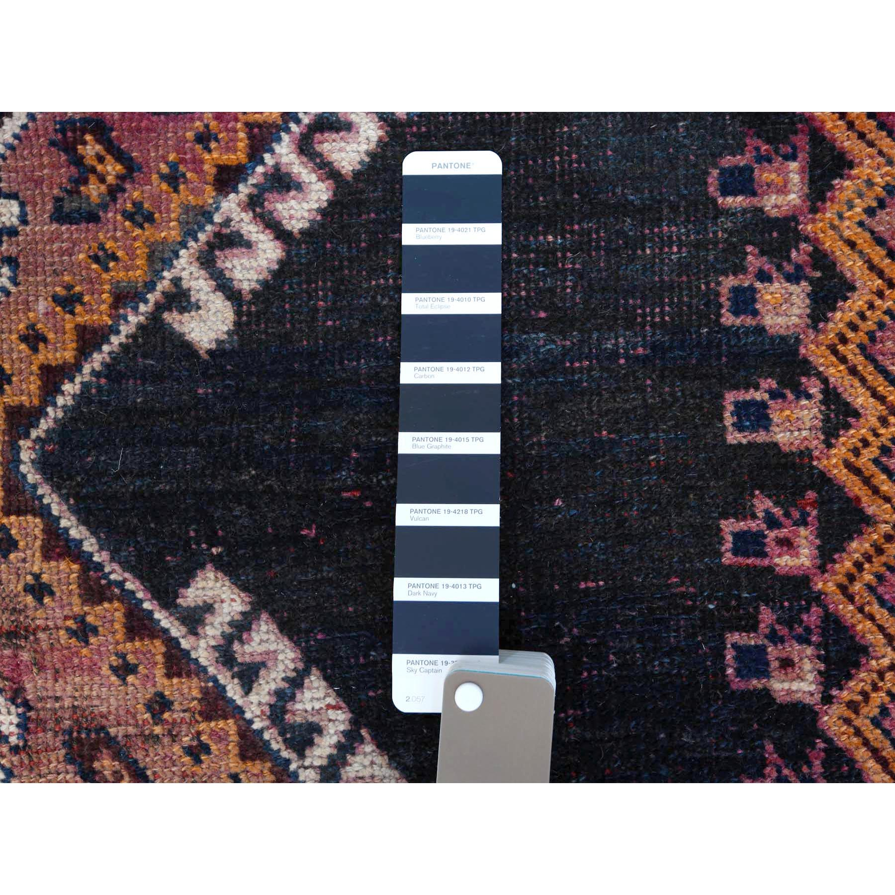 """4'2""""x7'2"""" Colorful Vintage Persian Qashqai Clean Cropped Thin Hand Knotted Oriental Rug"""
