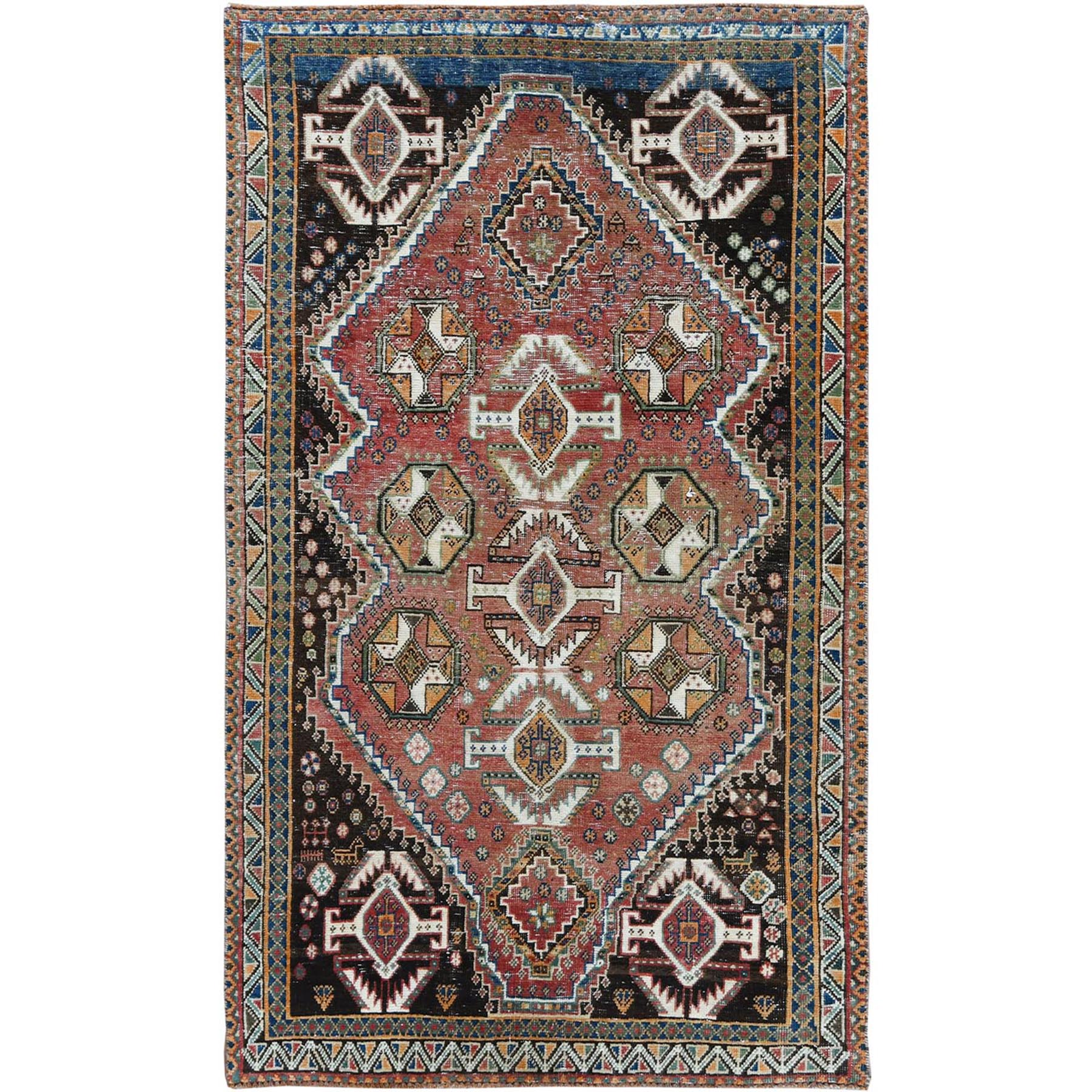 "3'10""x6'5"" Red Vintage and Sheared Low Persian Bohemian Hand Knotted Clean Oriental Rug"
