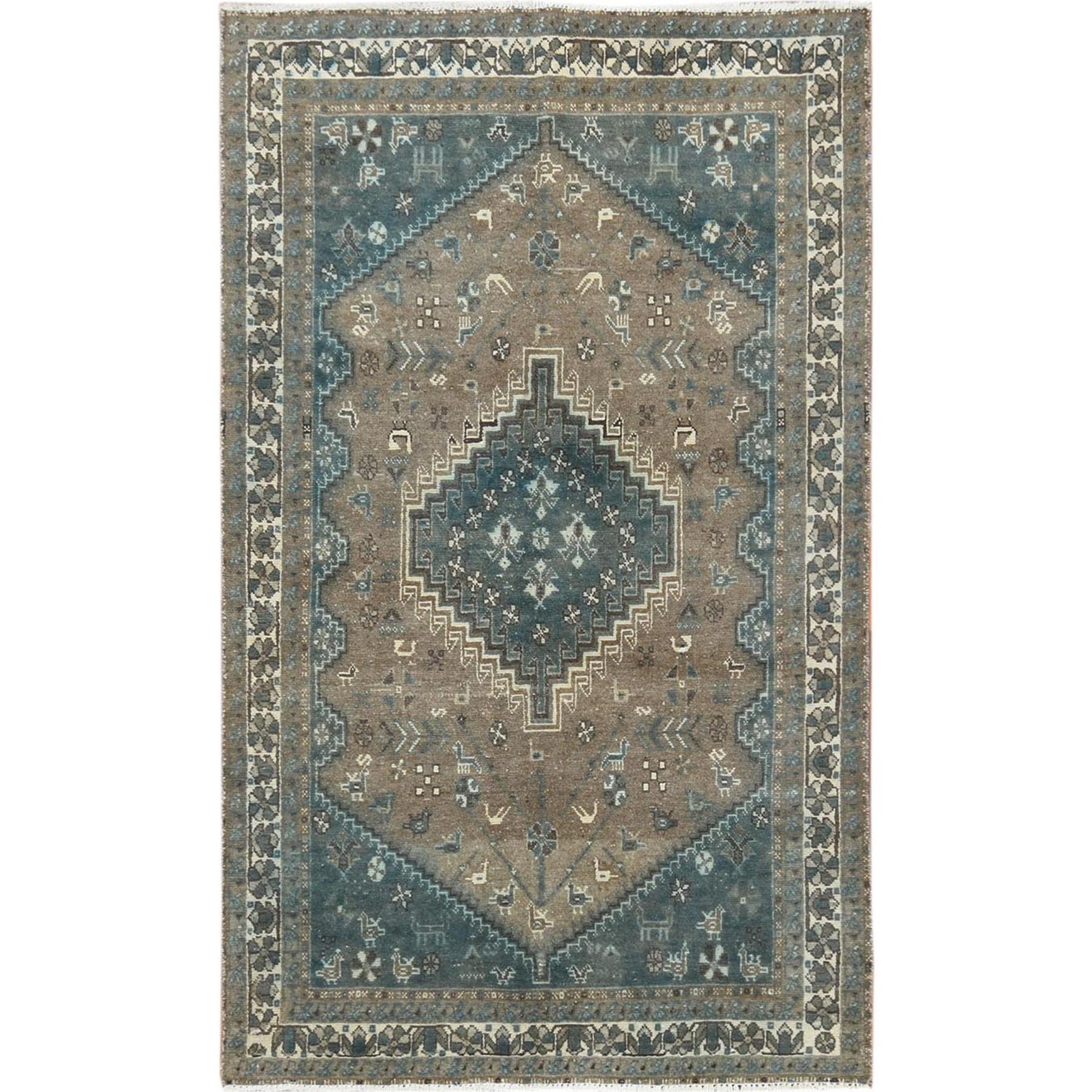 "4'3""x6'7"" Gray Persian Shiraz Old Cropped Thin Hand Knotted Oriental Rug"