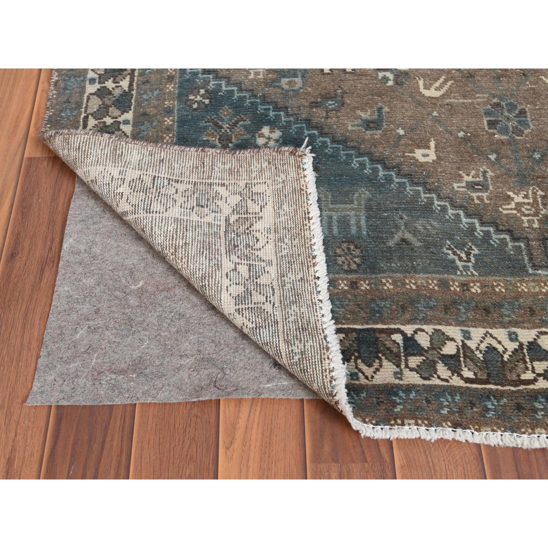 """4'3""""x6'7"""" Gray Old Persian Shiraz Cropped Thin Clean Hand Knotted Oriental Rug"""