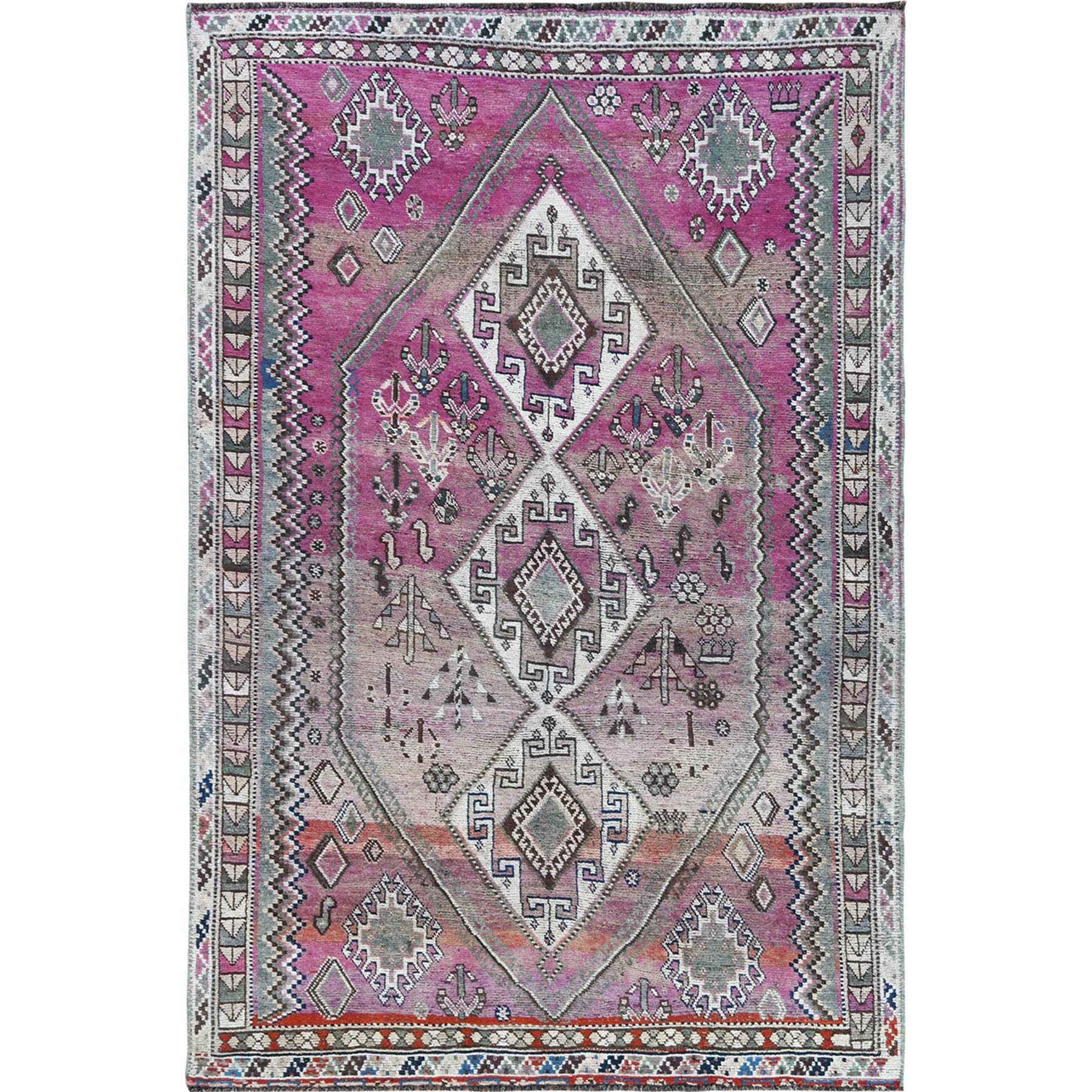 "4'9""x7'2"" Pink Hand Knotted Persian Shiraz Bohemian Cropped Thin Vintage Clean Organic Wool Oriental Rug"