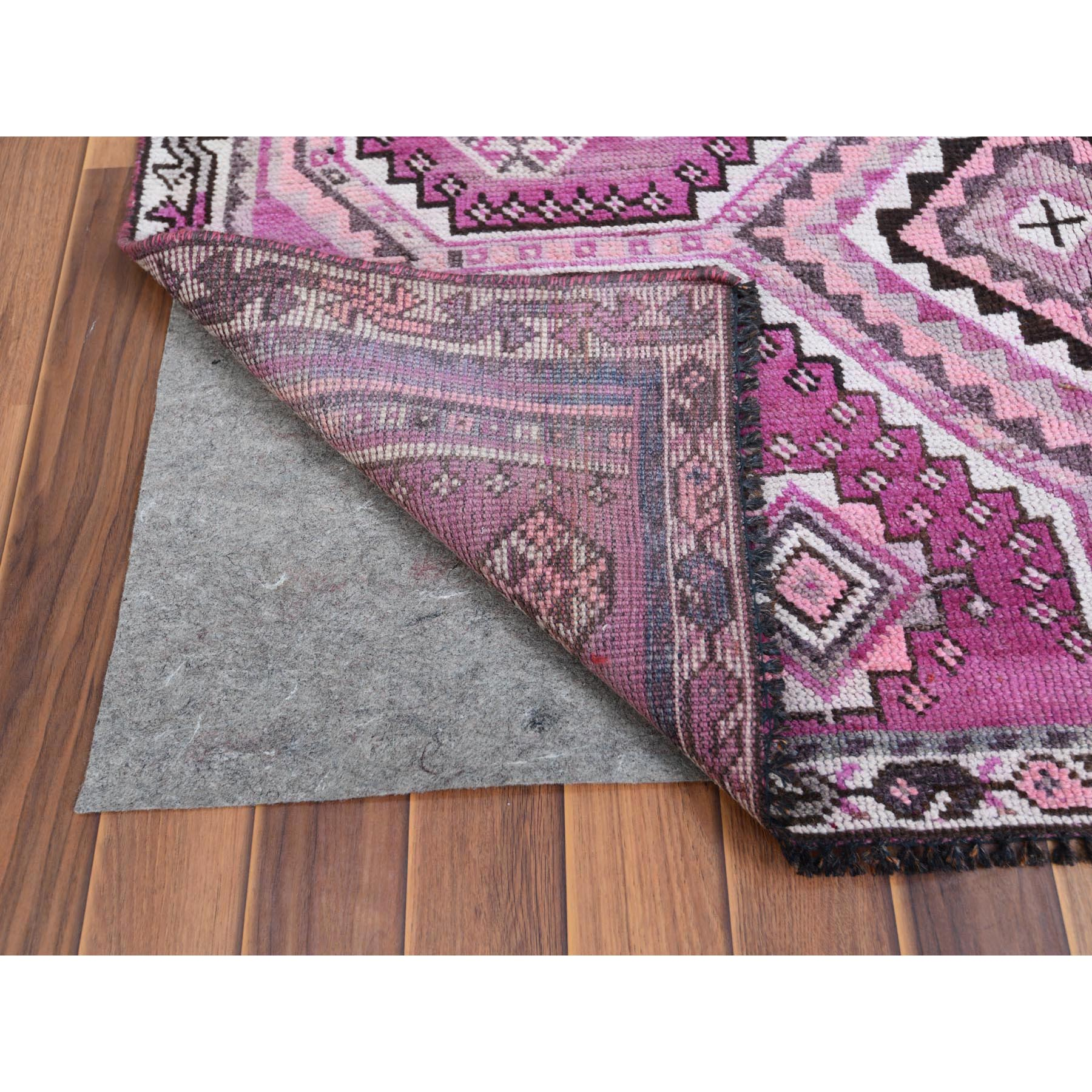 "4'9""x7'6"" Hand Knotted Persian Qashqai Pink Semi Antique Clean Worn Down Bohemian Natural Wool Oriental Rug"