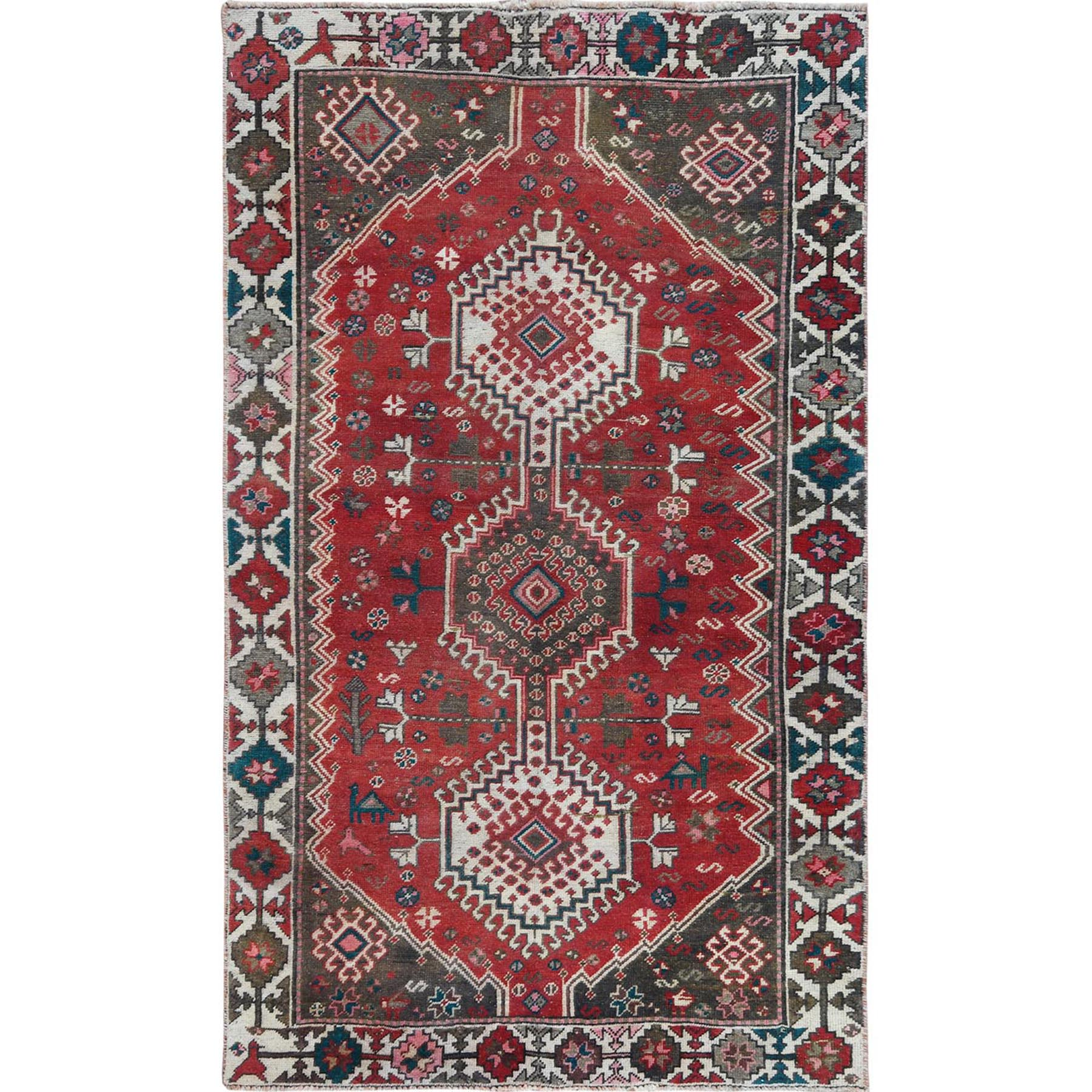 "4'x6'10"" Vintage Persian Qashqai Red Pure Wool Cropped Thin Clean Bohemian Hand Knotted Oriental Rug"