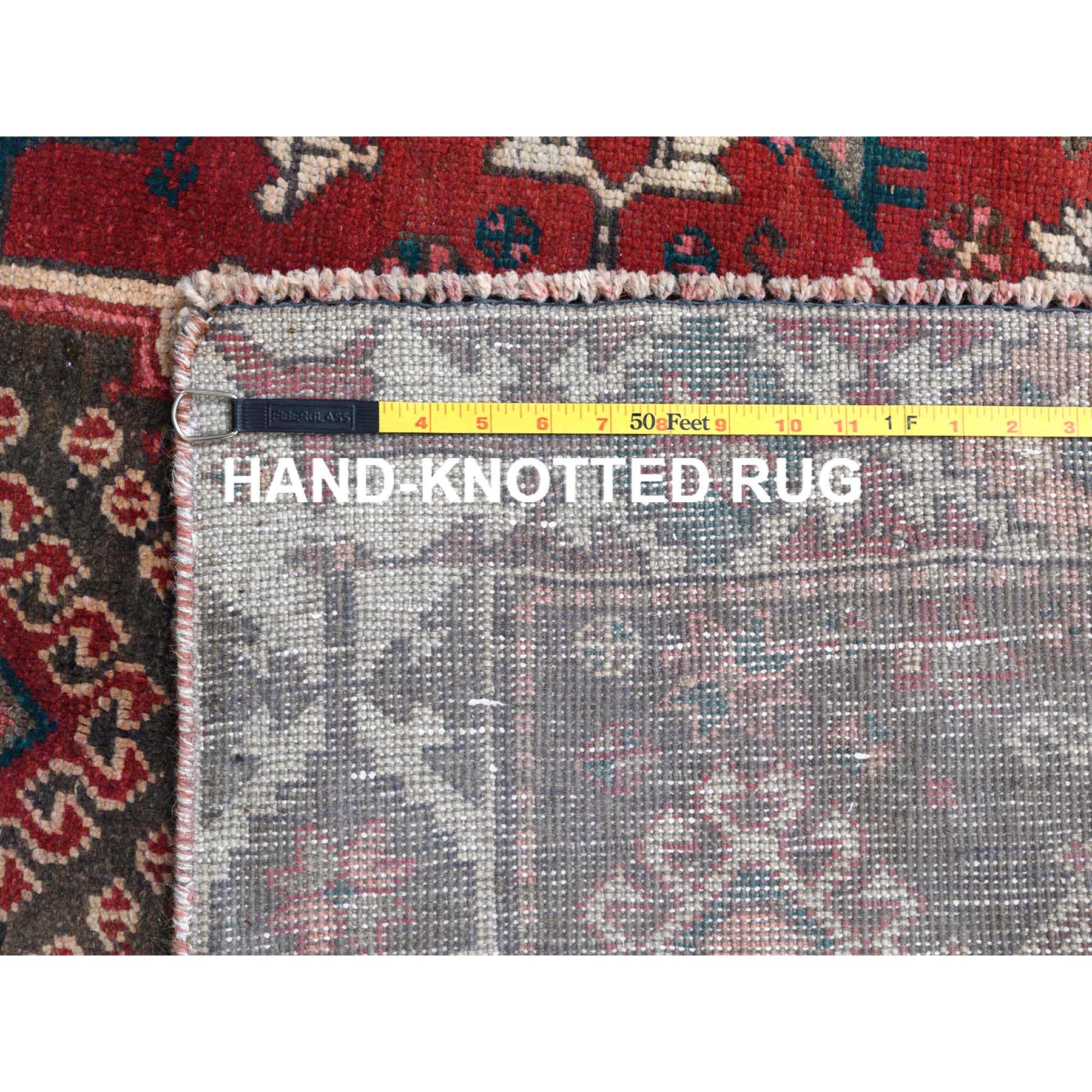 """4'x6'10"""" Vintage Persian Qashqai Red Pure Wool Cropped Thin Clean Bohemian Hand Knotted Oriental Rug"""