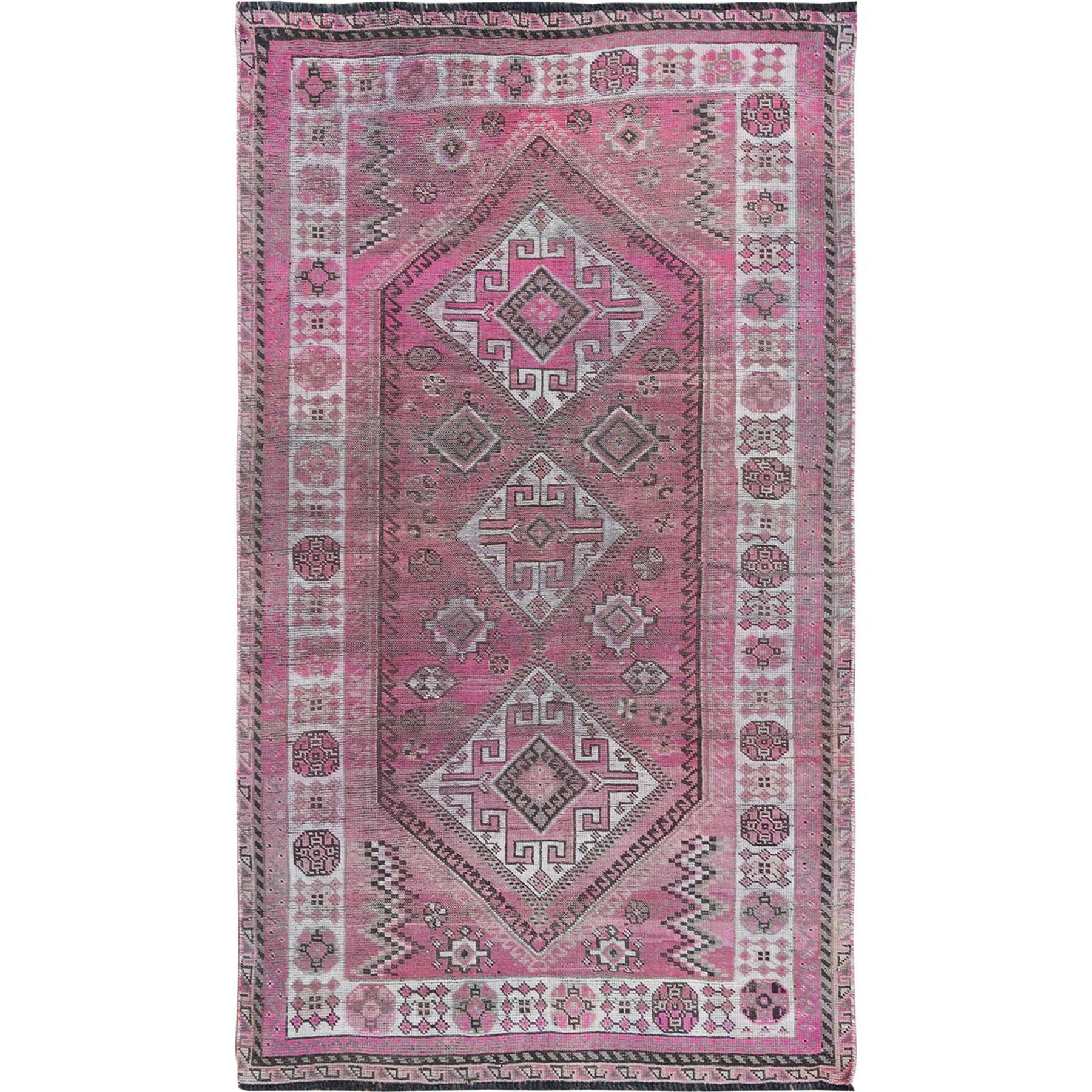 "4'5""x7'7"" Semi Antique Pink Hand Knotted Persian Shiraz Bohemian Sheared Low Clean Natural Wool Oriental Rug"