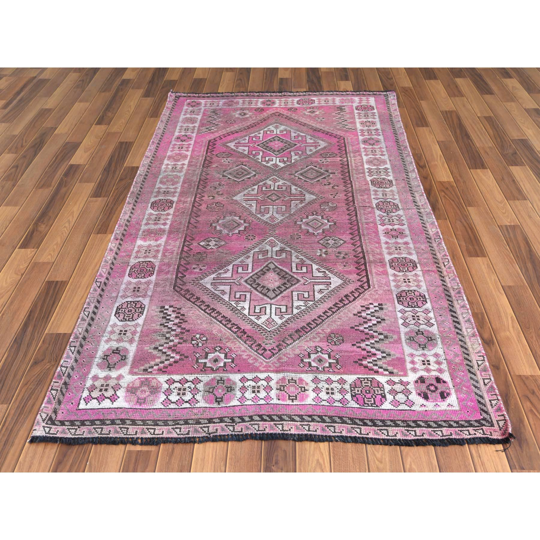 """4'5""""x7'7"""" Semi Antique Pink Hand Knotted Persian Shiraz Bohemian Sheared Low Clean Natural Wool Oriental Rug"""