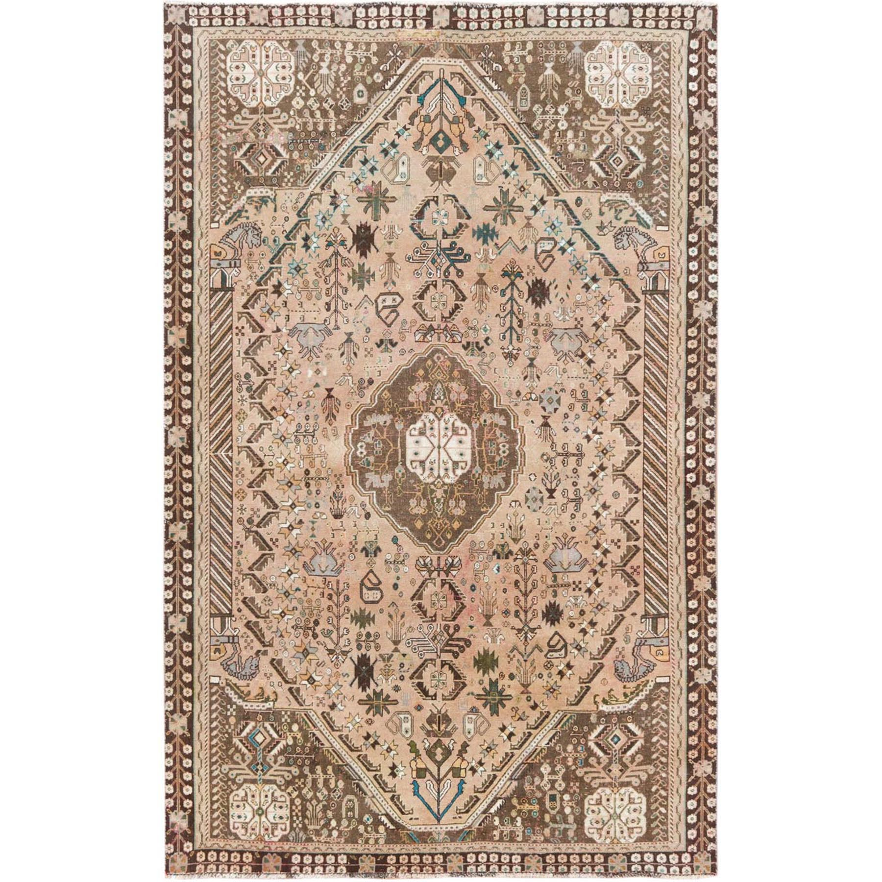 "5'6""x8'8"" Vintage Pure Wool Tan Color Persian Shiraz Distressed Bohemian Clean Hand Knotted Oriental Rug"