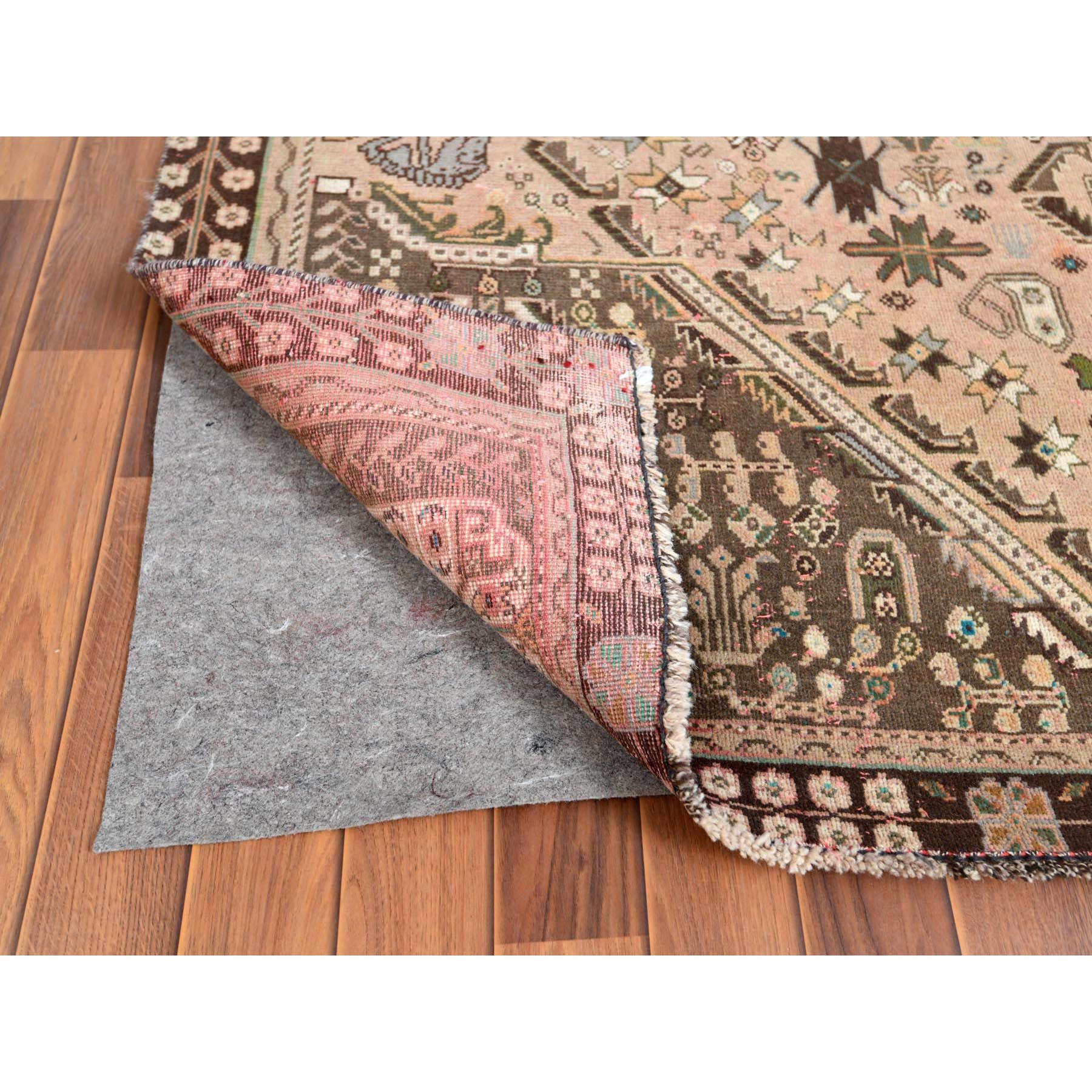 """5'6""""x8'8"""" Vintage Pure Wool Tan Color Persian Shiraz Distressed Bohemian Clean Hand Knotted Oriental Rug"""