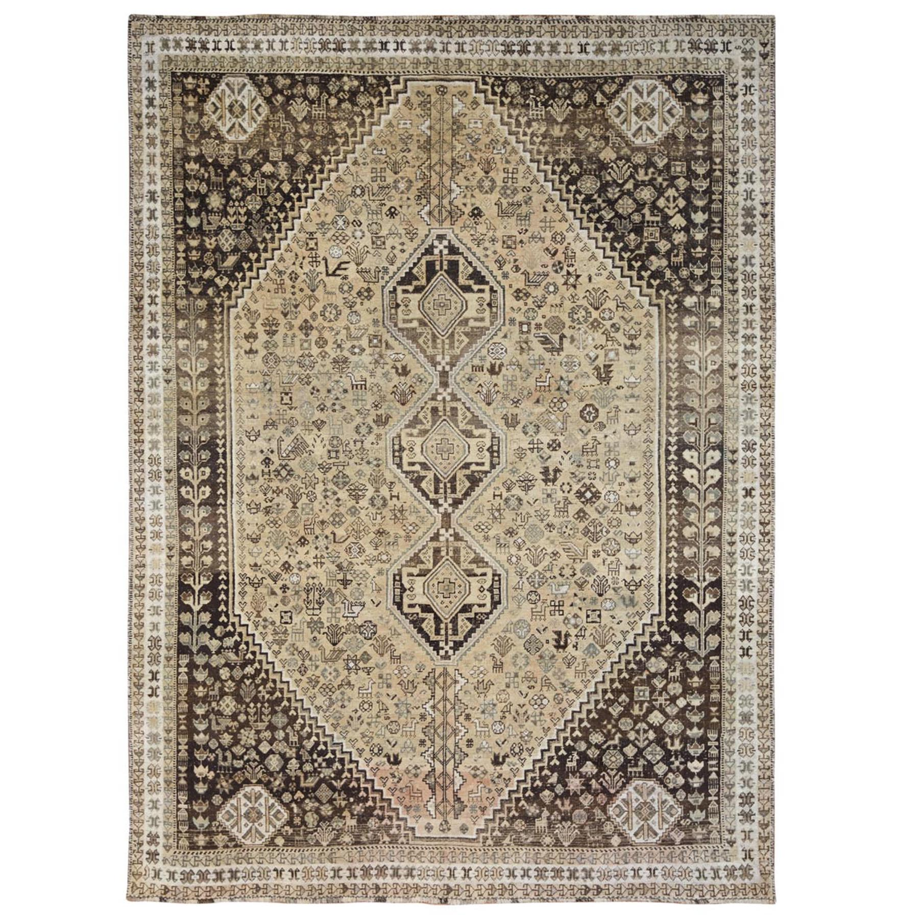 "7'5""x10'2"" Old Hand Knotted Beige Persian Qashqai Bohemian Sheared Low Natural Wool Clean Oriental Rug"