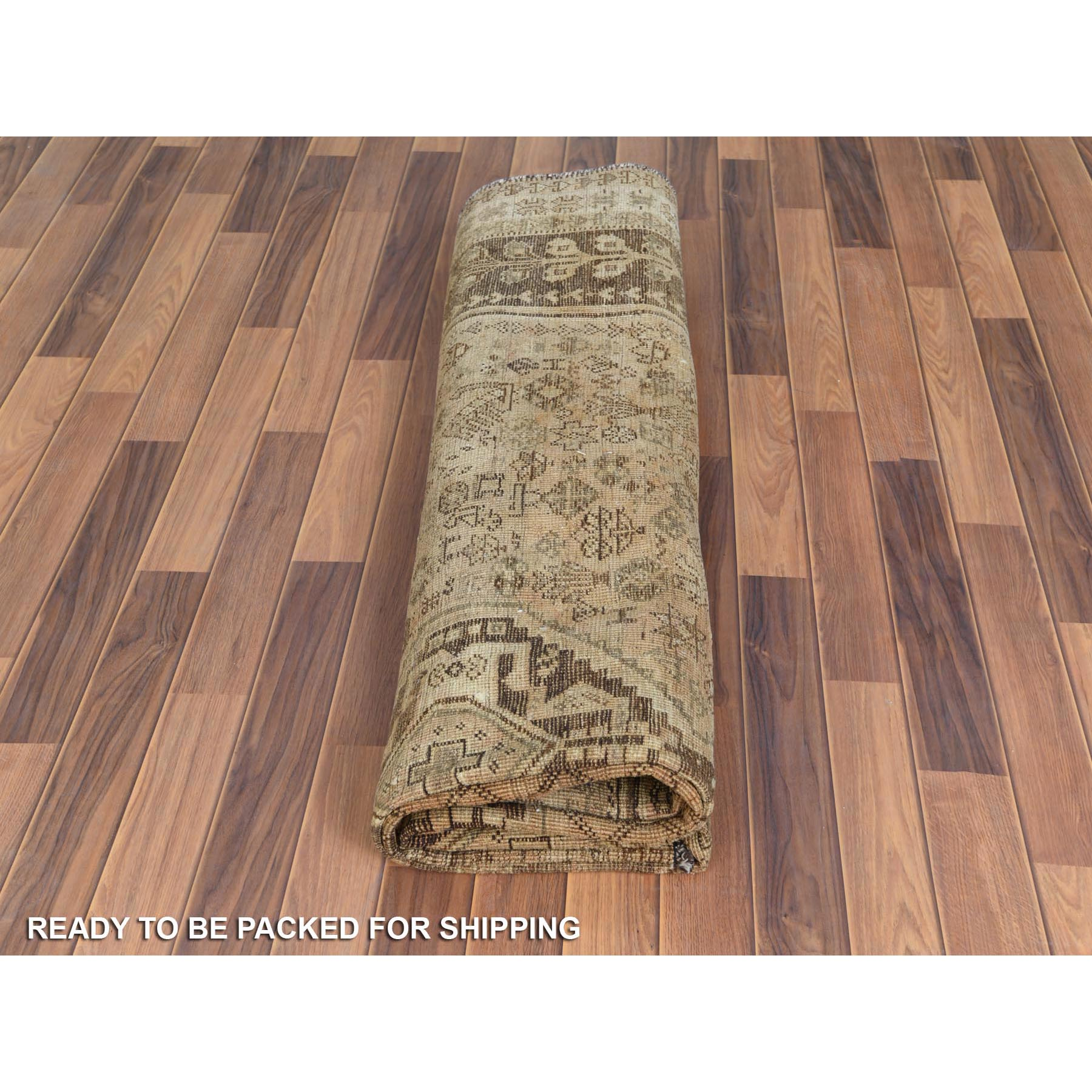 """7'5""""x10'2"""" Old Hand Knotted Beige Persian Qashqai Bohemian Sheared Low Natural Wool Clean Oriental Rug"""