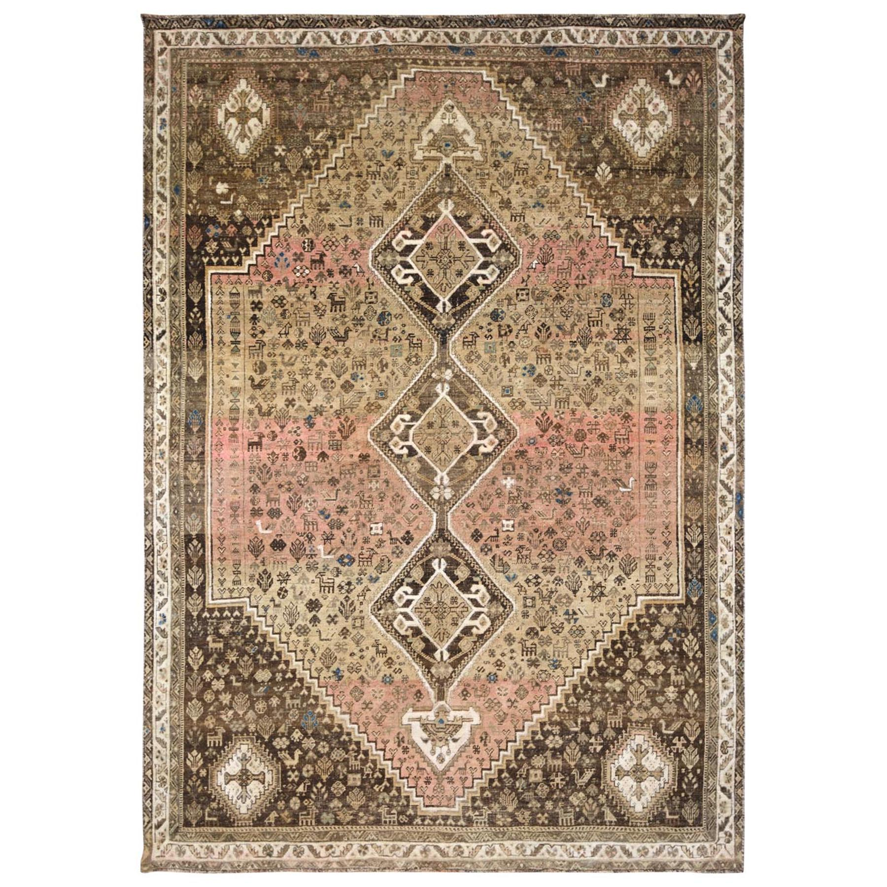 "7'3""x10'7"" Beige Persian Shiraz Vintage Worn Down Bohemian Clean Hand Knotted Organic Wool Oriental Rug"