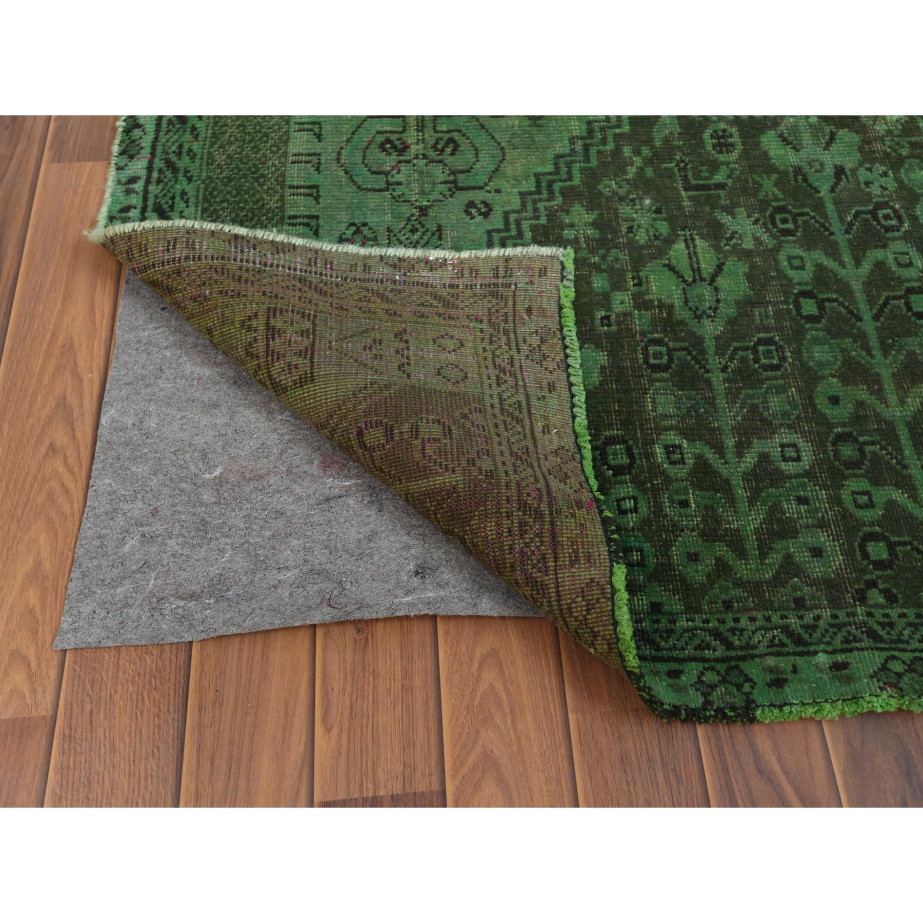 "5'6""x8'7"" Semi Antique Green Persian Qashqai Bohemian Cropped Thin Clean Natural Wool Hand Knotted Oriental Rug"