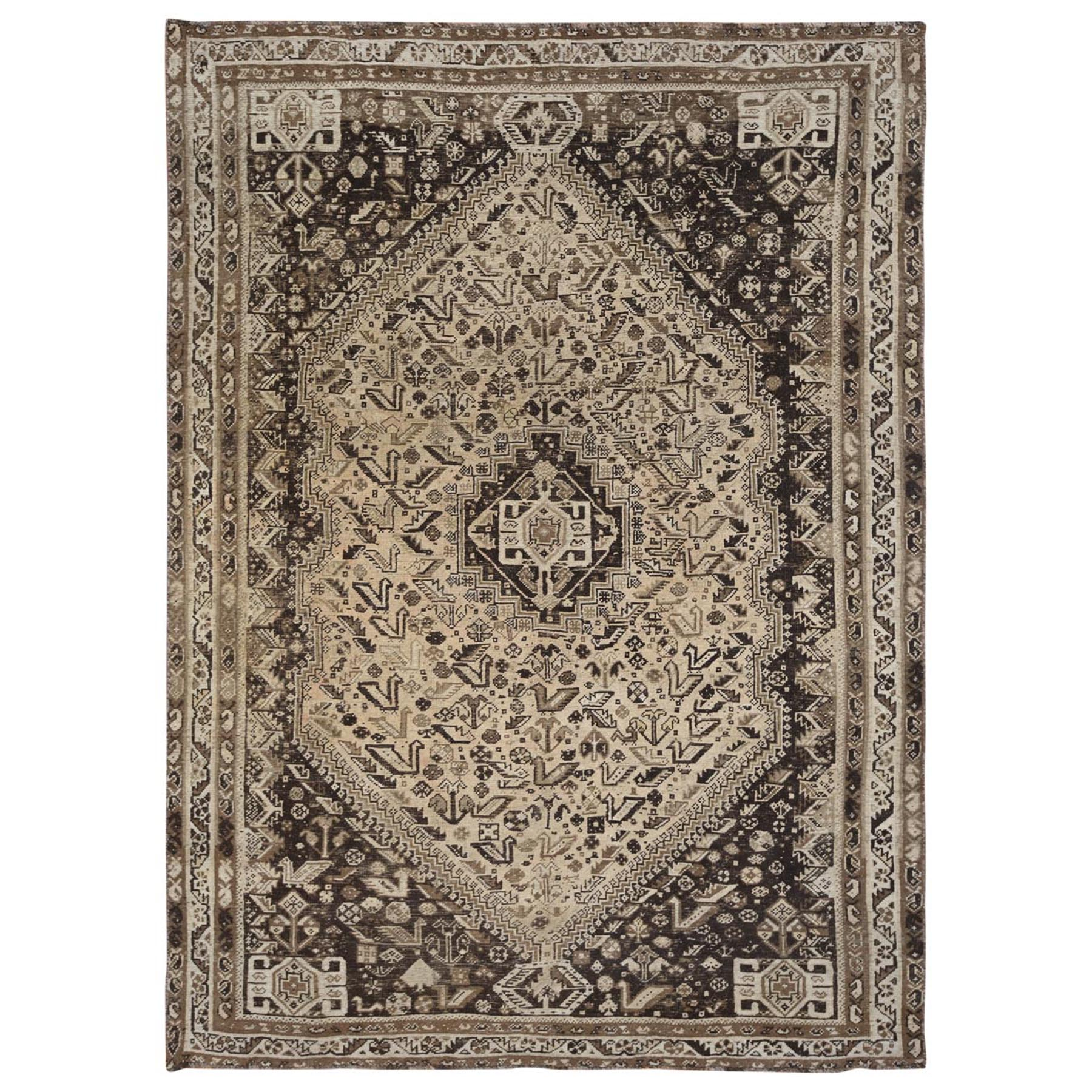 "7'1""x10' Semi Antique Taupe Hand Knotted Persian Shiraz Bohemian Worn Down Clean Natural Wool Clean Oriental Rug"