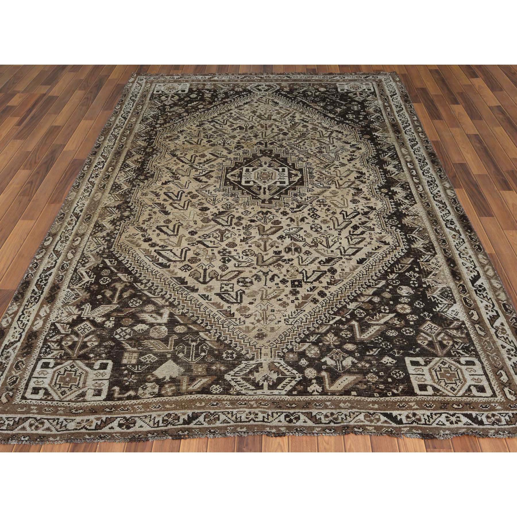 "7'1""x10' Semi Antique Taupe Hand Knotted Persian Shiraz Bohemian Worn Down Clean Natural Wool Clean Oriental Rug"
