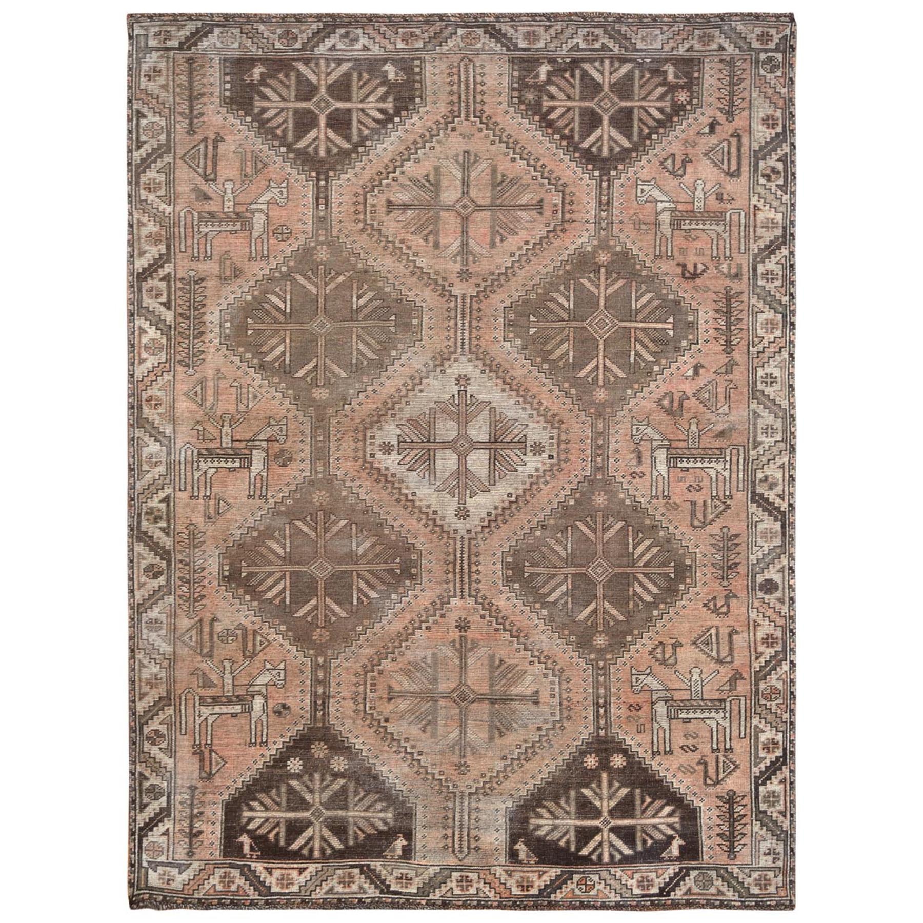 "6'8""x9'2"" Hand Knotted Tan Color Persian Shiraz Sheared Low Bohemian Clean Vintage Organic Wool Oriental Rug"
