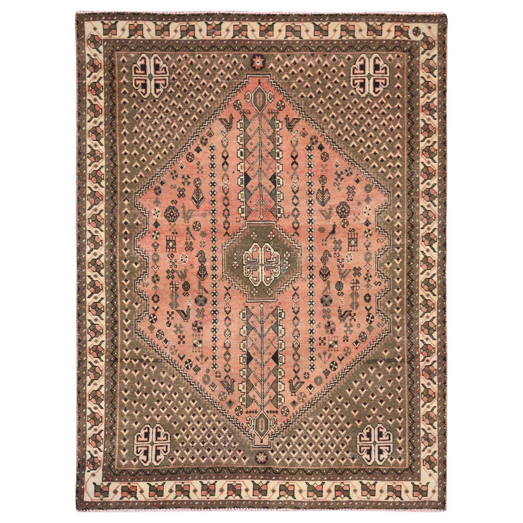 5'x7' Semi Antique Peach Color Persian Qashqai Distressed Natural Wool Bohemian Clean Hand Knotted Oriental Rug
