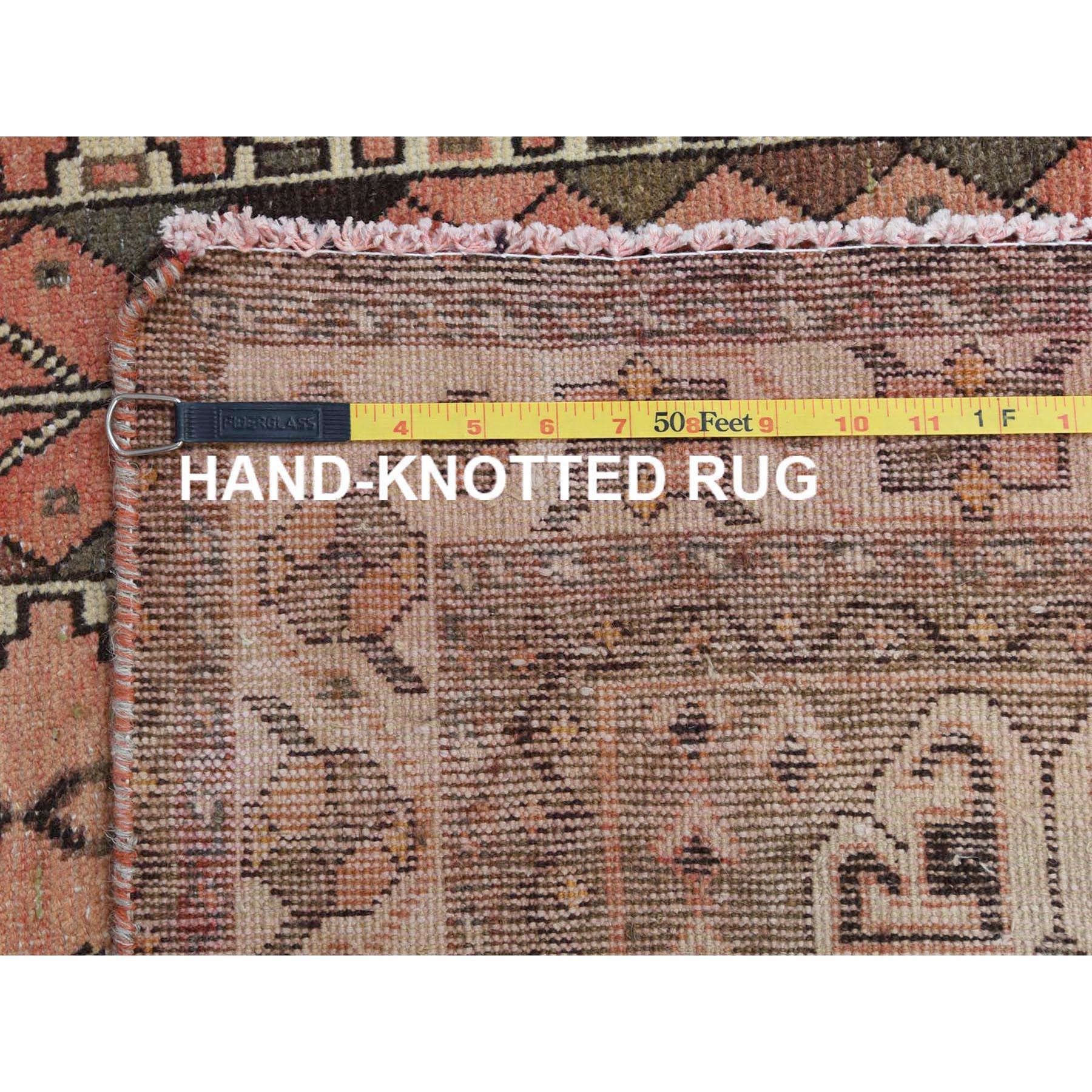 5'x7' Semi Antique Peach Color Persian Qashqai Distressed Natural Wool Bohemian Clean Hand Knotted Oriental Rug
