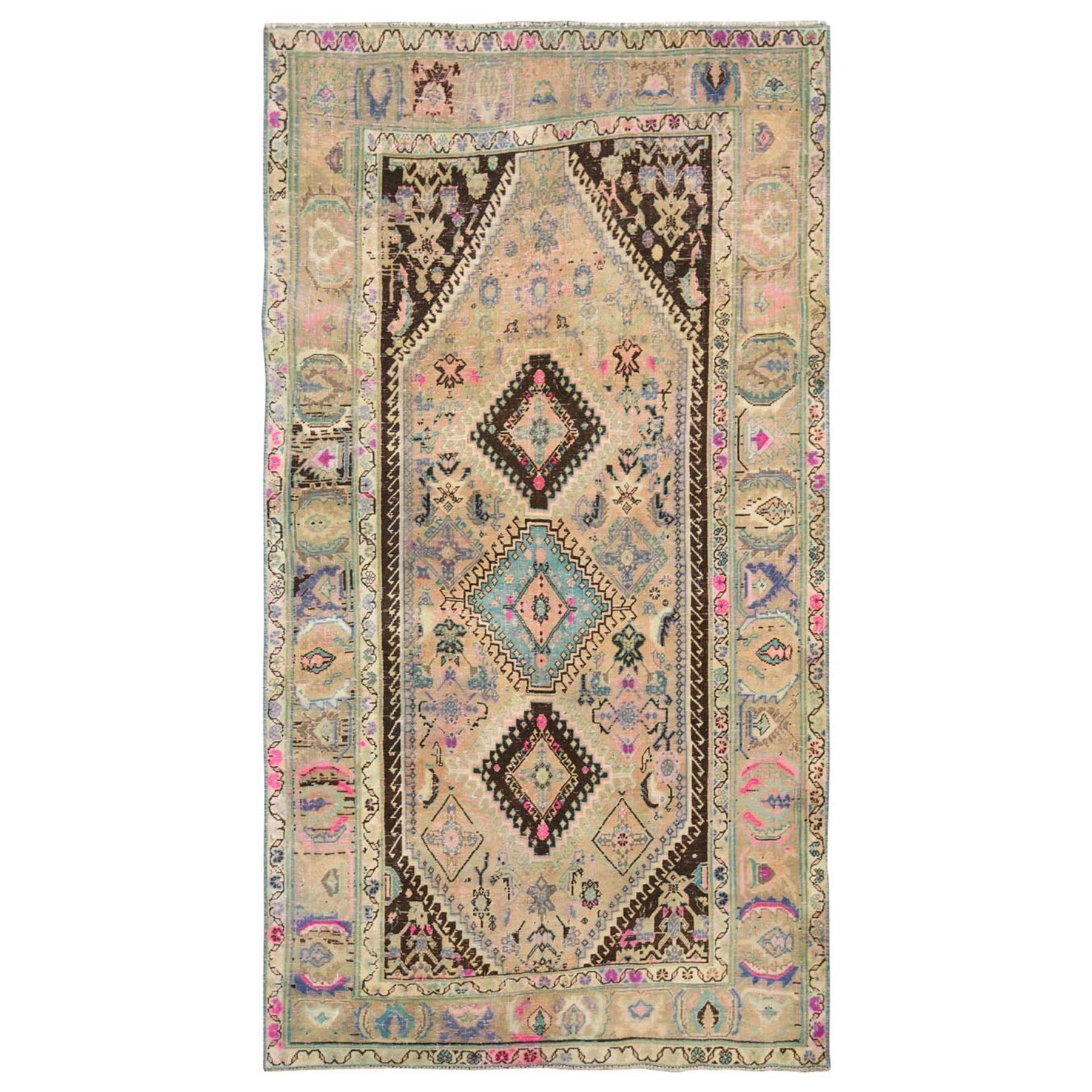 "4'7""x9' Beige Persian Qashqai Hand Knotted Natural Wool Sheared Low Vintage Bohemian Clean Oriental Rug"