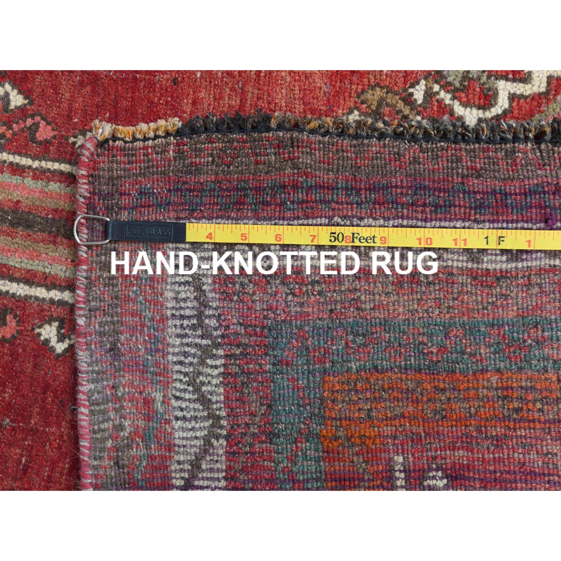 "5'x8'3"" Semi Antique Red Persian Shiraz Hand Knotted Distressed Bohemian Clean Natural Wool Oriental Rug"