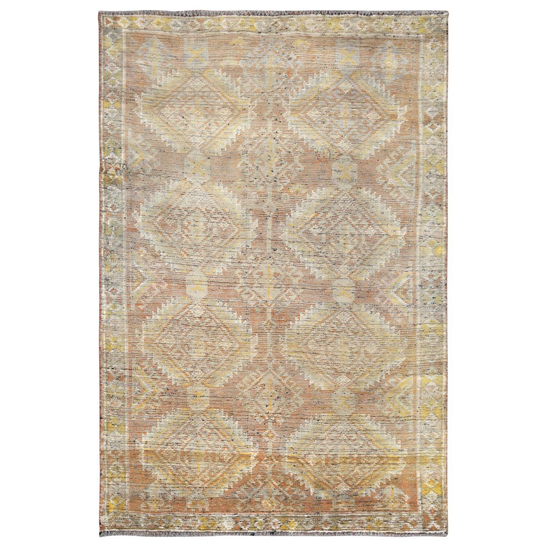 "4'9""x7'4"" Orange Persian Shiraz Sheared Low Clean Old Bohemian Organic Wool Hand Knotted Oriental Rug"