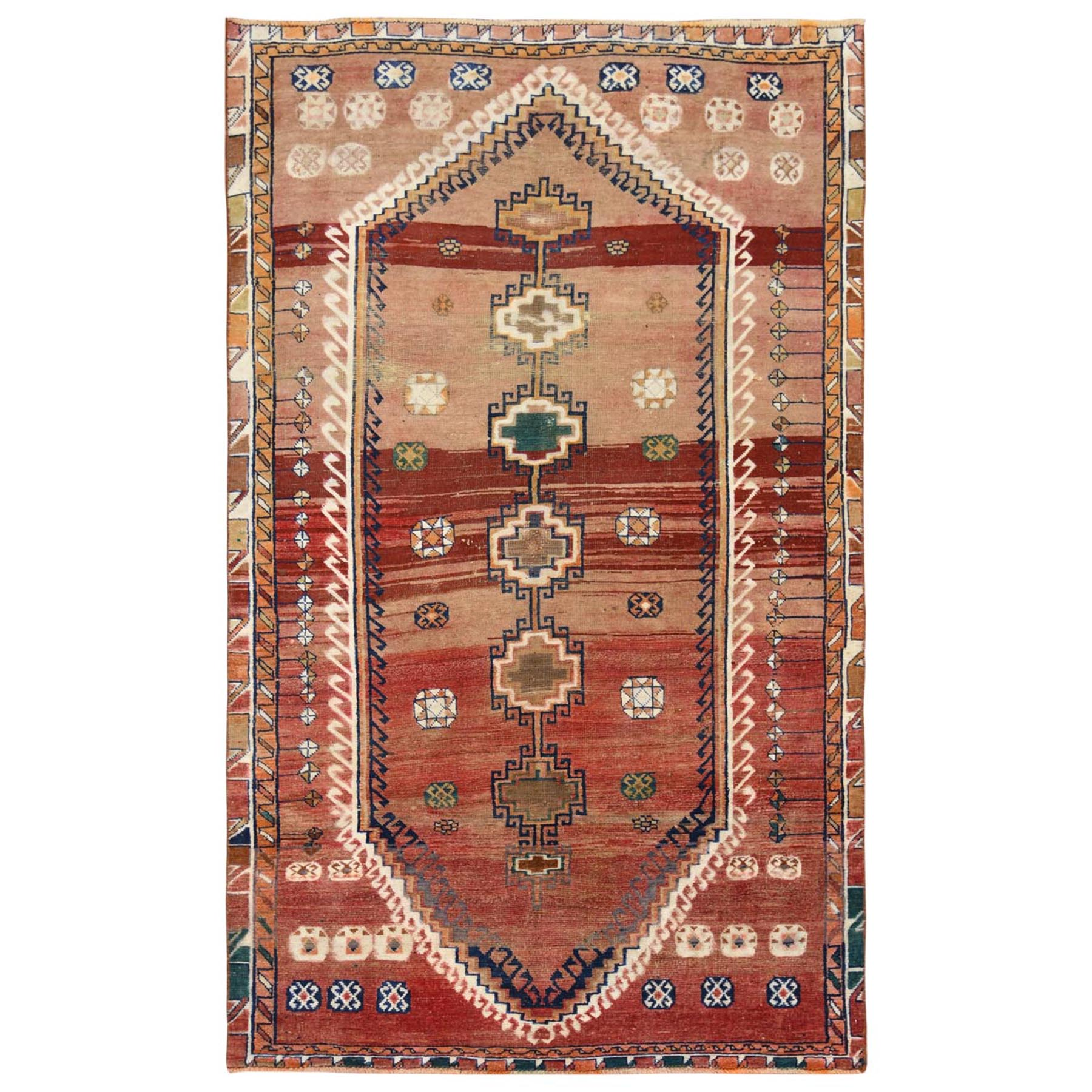 "4'6""x7'8"" Vintage Worn Down Tan Color Persian Qashqai Pure Wool Hand Knotted Bohemian Clean Oriental Rug"