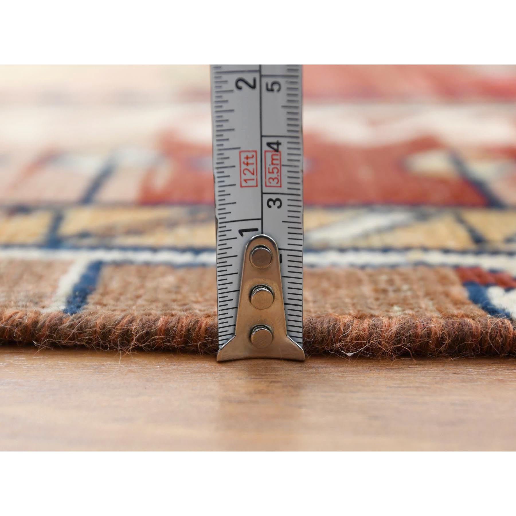 """4'6""""x7'8"""" Vintage Worn Down Tan Color Persian Qashqai Pure Wool Hand Knotted Bohemian Clean Oriental Rug"""