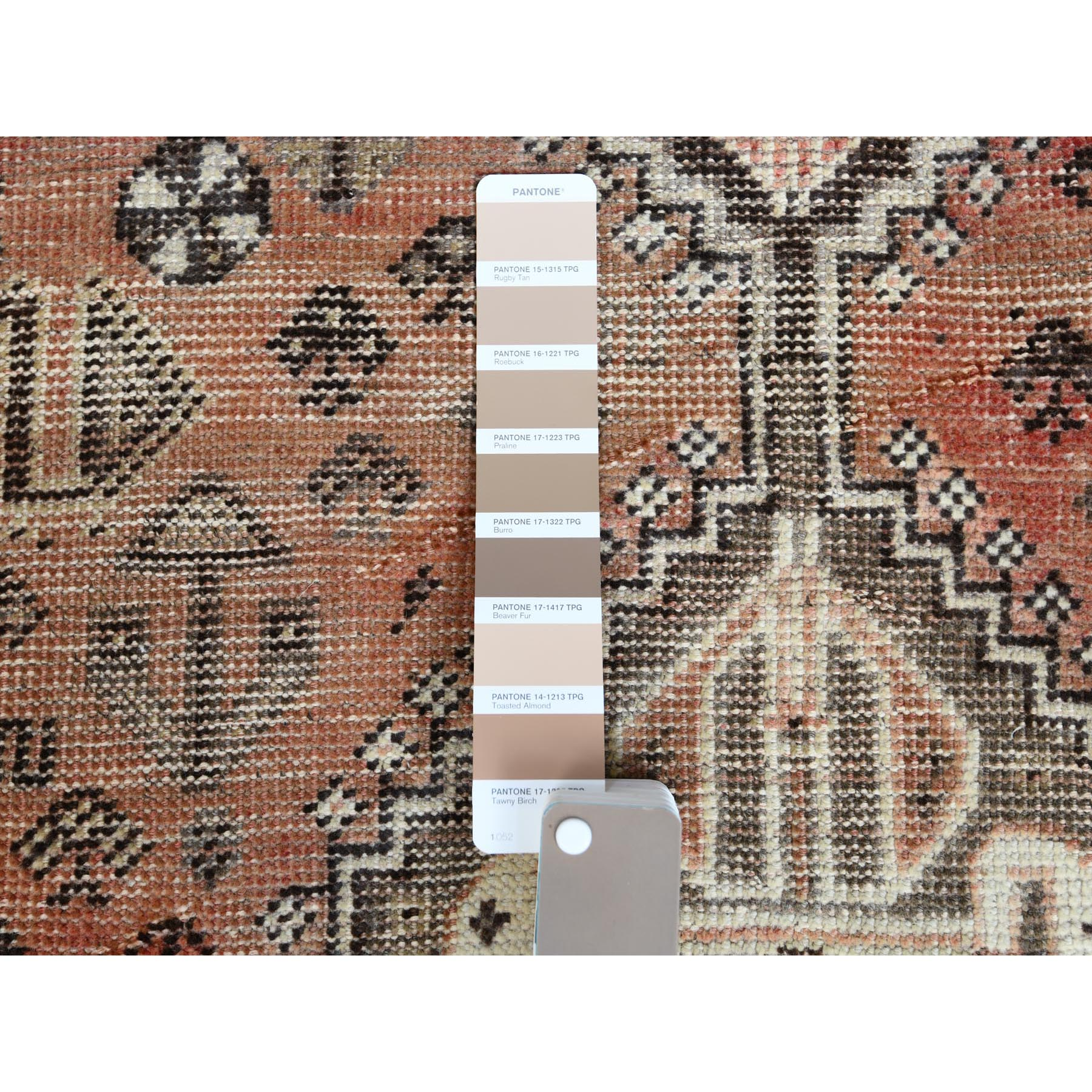 "5'4""x7'6"" Semi Antique Hand Knotted Persian Shiraz Tan Color Worn Down Bohemian Clean Natural Wool Oriental Rug"