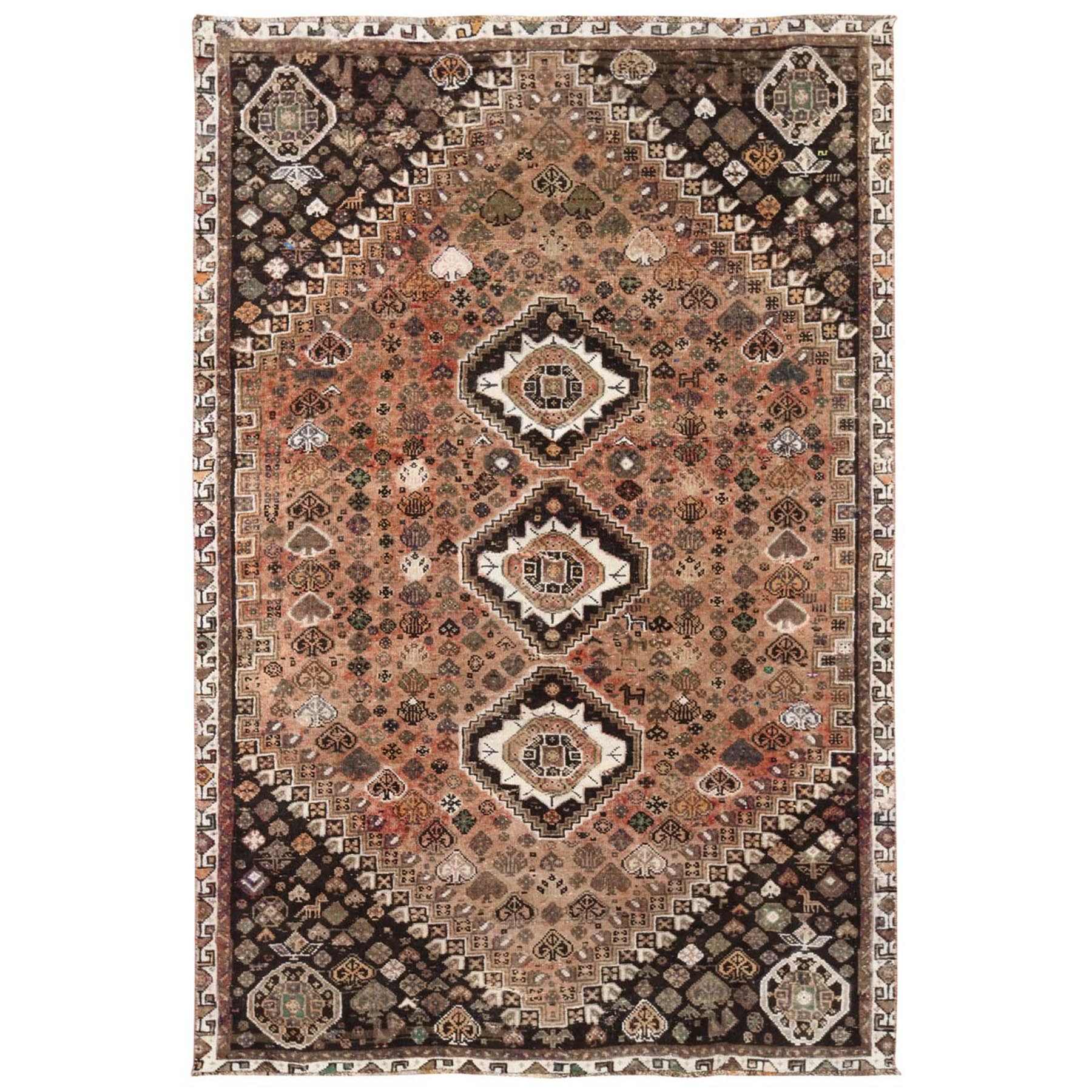 "5'2""x8' Brown Persian Qashqai Vintage Worn Down Bohemian Clean Pure Wool Hand Knotted Oriental Rug"