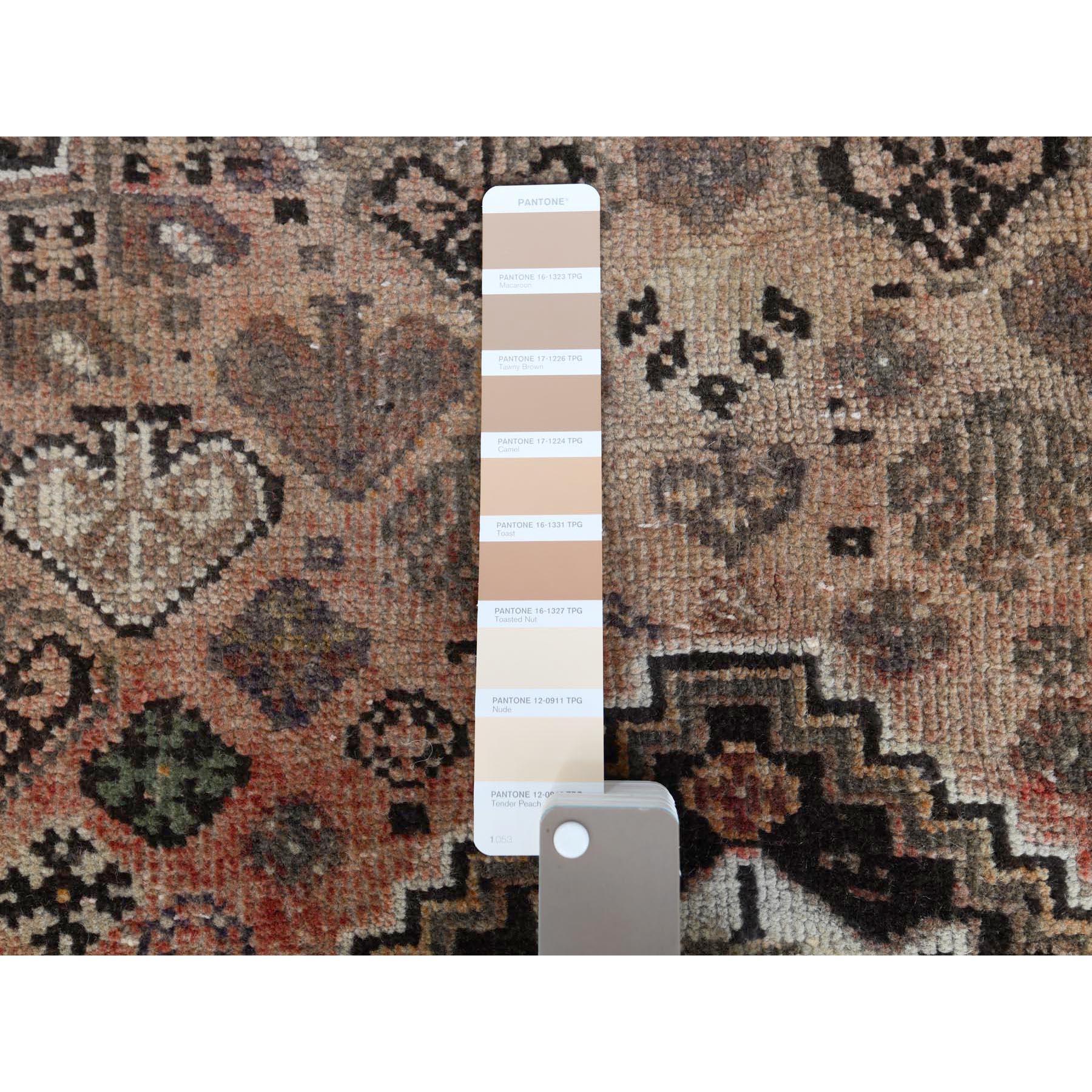 "5'2""x8' Brown Persian Qashqai Vintage Worn Down Bohemian Clean Pure Wool Hand Knotted Oriental Rug"