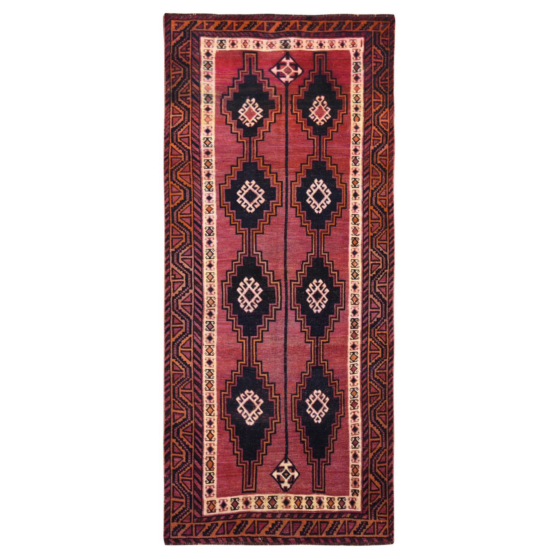 "4'9""x10'5"" Hand Knotted Red Persian Qashqai Worn Down Vintage Bohemian Natural Wool Clean Runner Oriental Rug"