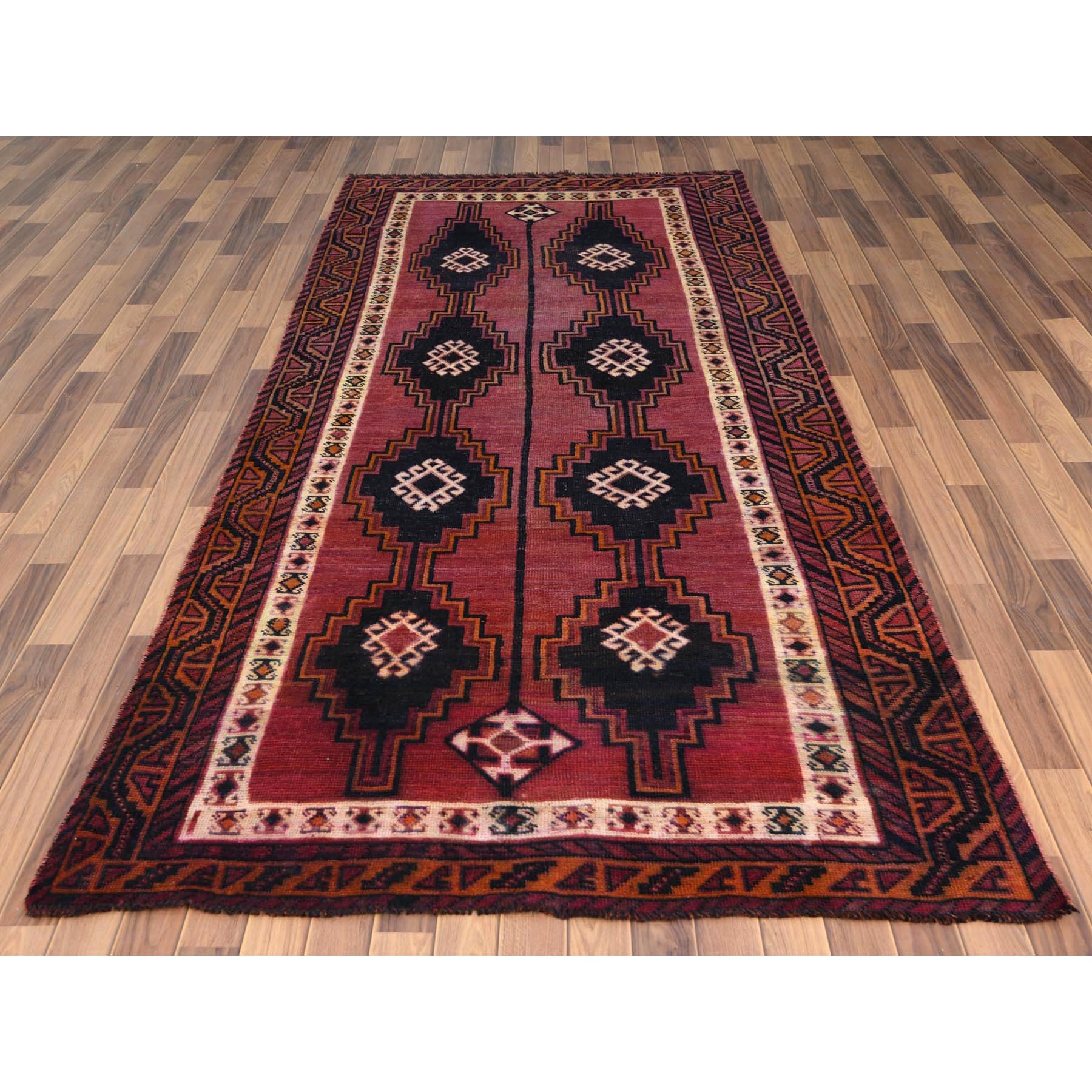 """4'9""""x10'5"""" Hand Knotted Red Persian Qashqai Worn Down Vintage Bohemian Natural Wool Clean Runner Oriental Rug"""