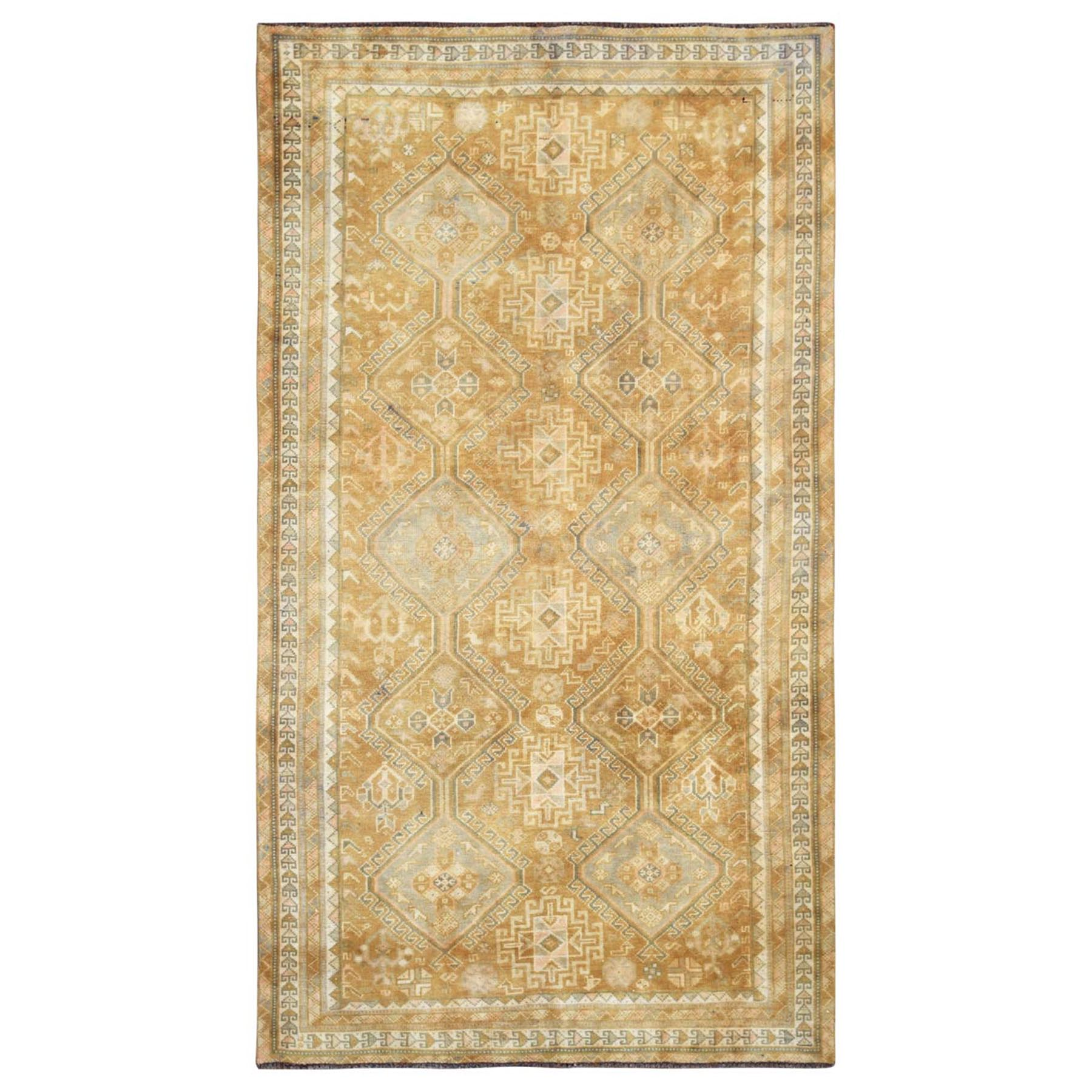 "4'8""x8'3"" Semi Antique Pure Wool Persian Shiraz Yellow Bohemian Clean Distressed Hand Knotted Oriental Rug"
