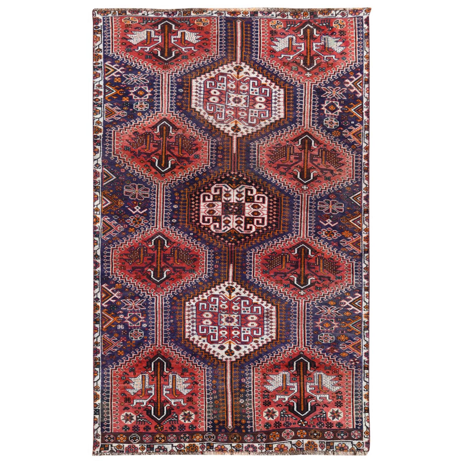 "4'6""x7'2"" Red Hand Knotted Persian Qashqai Vintage Worn Down Bohemian Clean Organic Wool Oriental Rug"