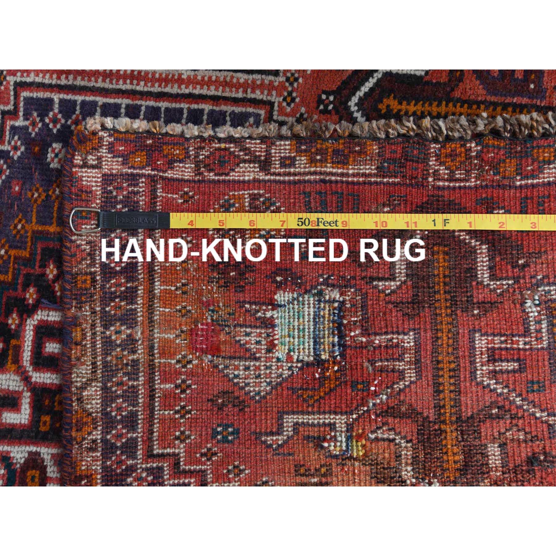 "4'6""x7'2"" Red Hand Knotted Persian Qashqai Vintage Worn Down Bohemian Clean Organic Wool Oriental Rug"