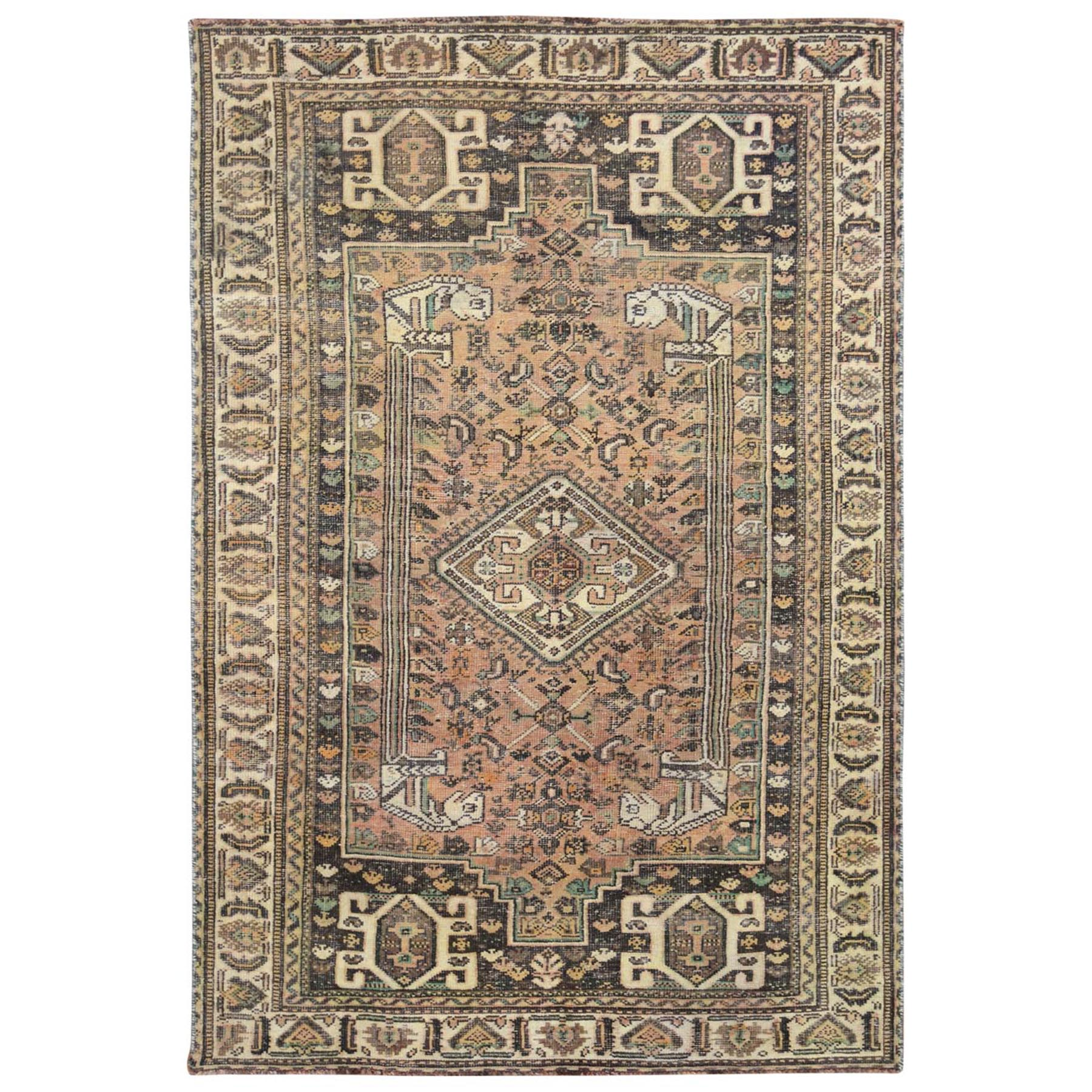 "5'4""x8'3"" Semi Antique Tan Color Persian Shiraz Hand Knotted Bohemian Clean Natural Wool Cropped Thin Oriental Rug"