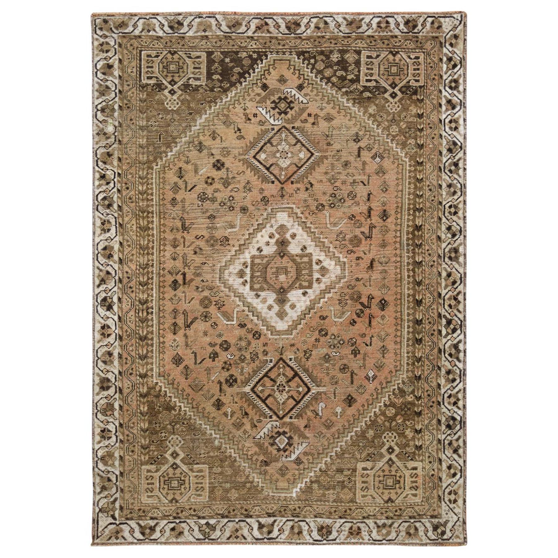 "5'4""x7'10"" Light Brown Persian Shiraz Old Cropped Thin Hand Knotted Clean Bohemian Pure Wool Oriental Rug"