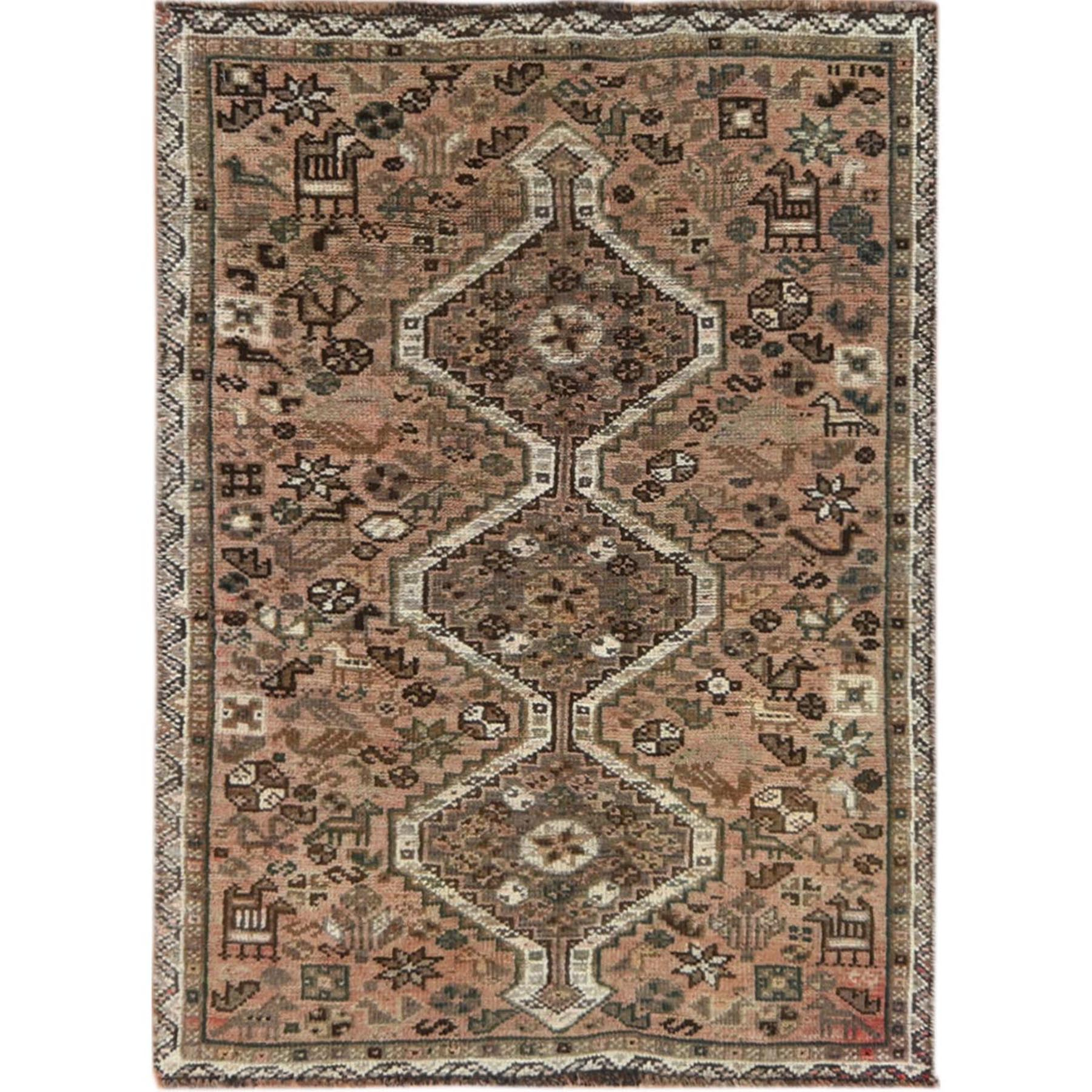 "3'x4'1"" Pure Wool Light Brown Persian Qashqai Vintage Worn Down Bohemian Clean Hand Knotted Oriental Rug"