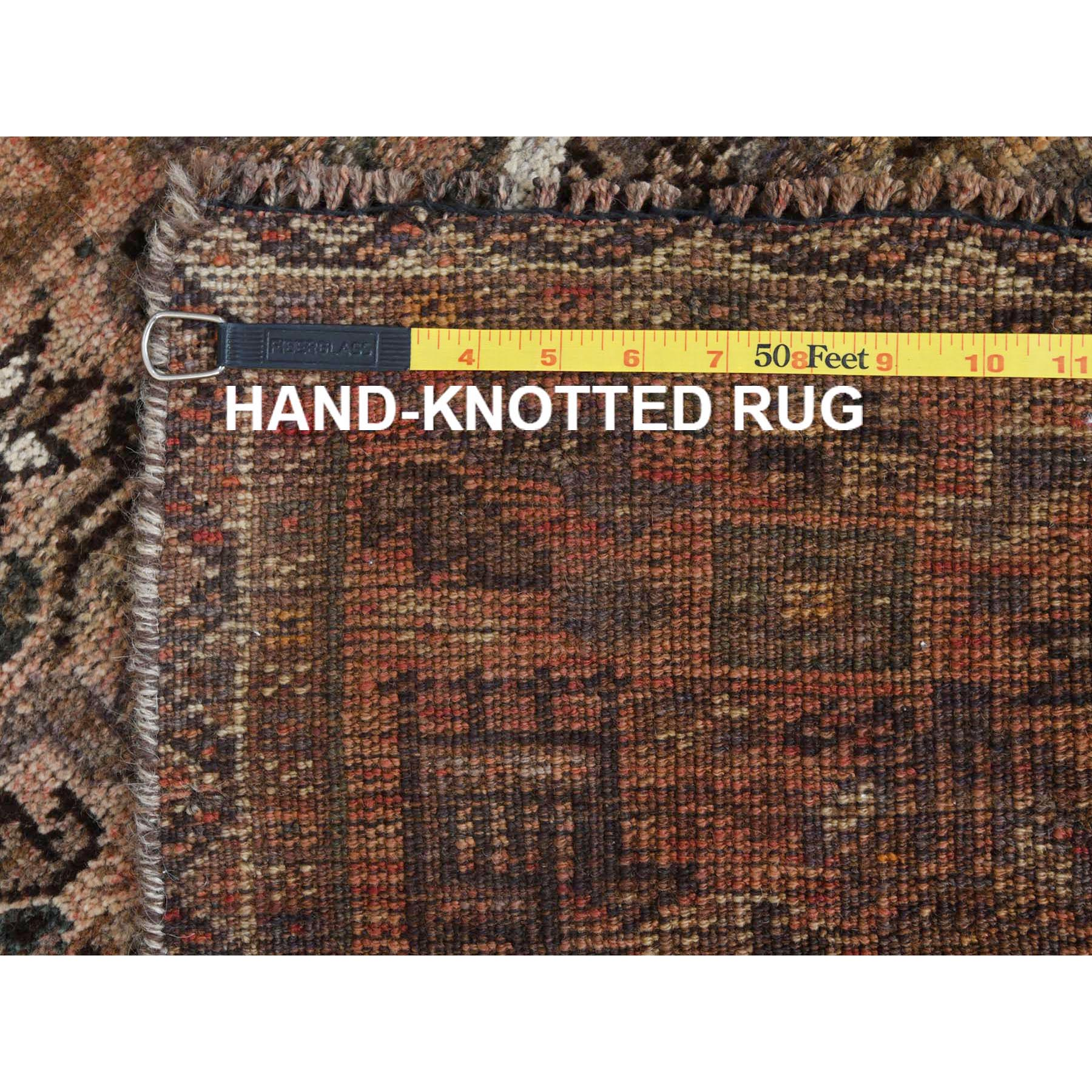 """3'x4'1"""" Pure Wool Light Brown Persian Qashqai Vintage Worn Down Bohemian Clean Hand Knotted Oriental Rug"""