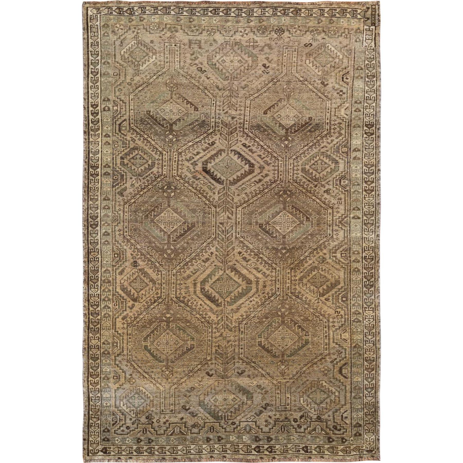 "5'3""x8'1"" Semi Antique Brown Persian Shiraz Distressed Hand Knotted Bohemian Clean Pure Wool Oriental Rug"