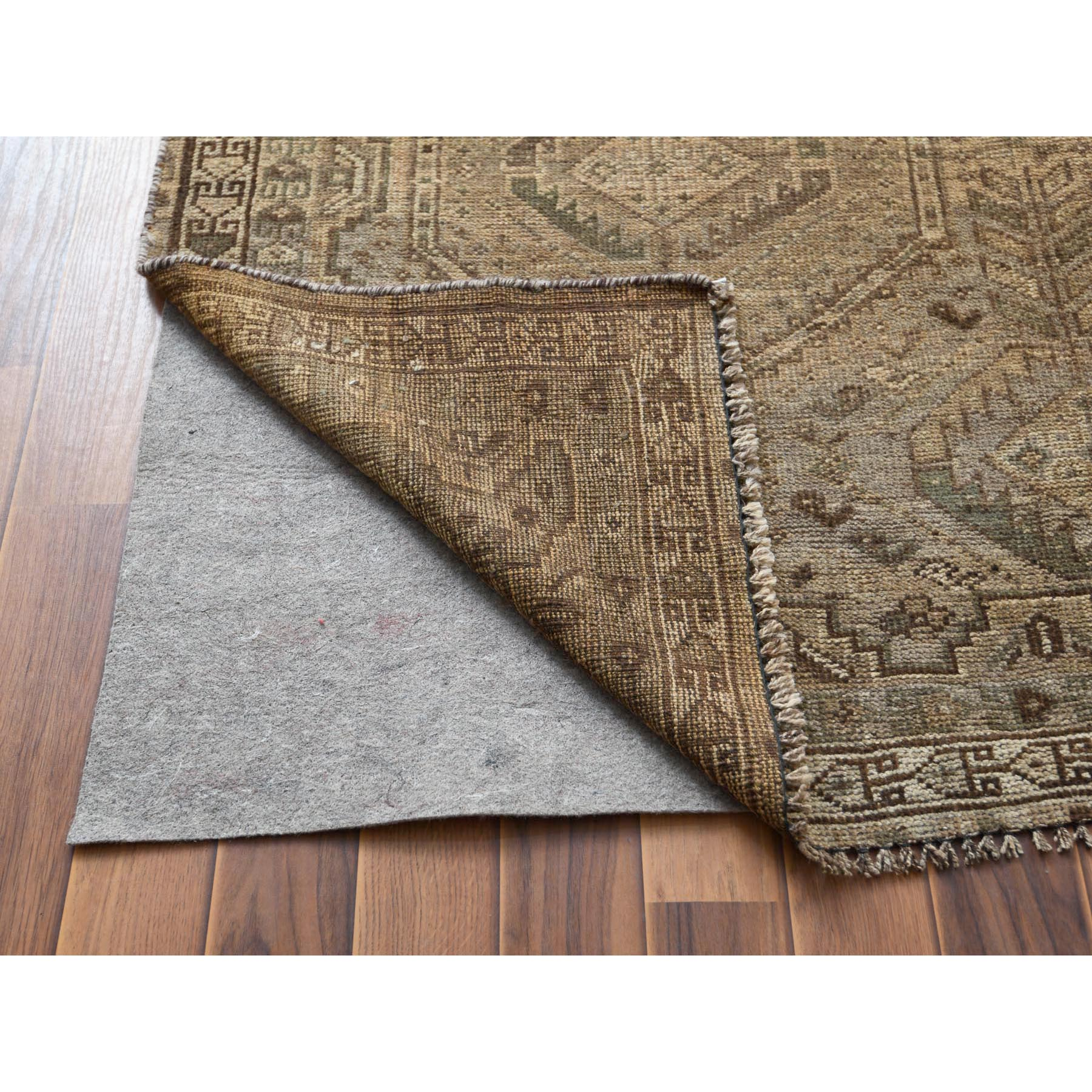 "5'3""x8'1"" Semi Antique Brown Persian Shiraz Natural Colors Hand Knotted Bohemian Clean Pure Wool Oriental Rug"