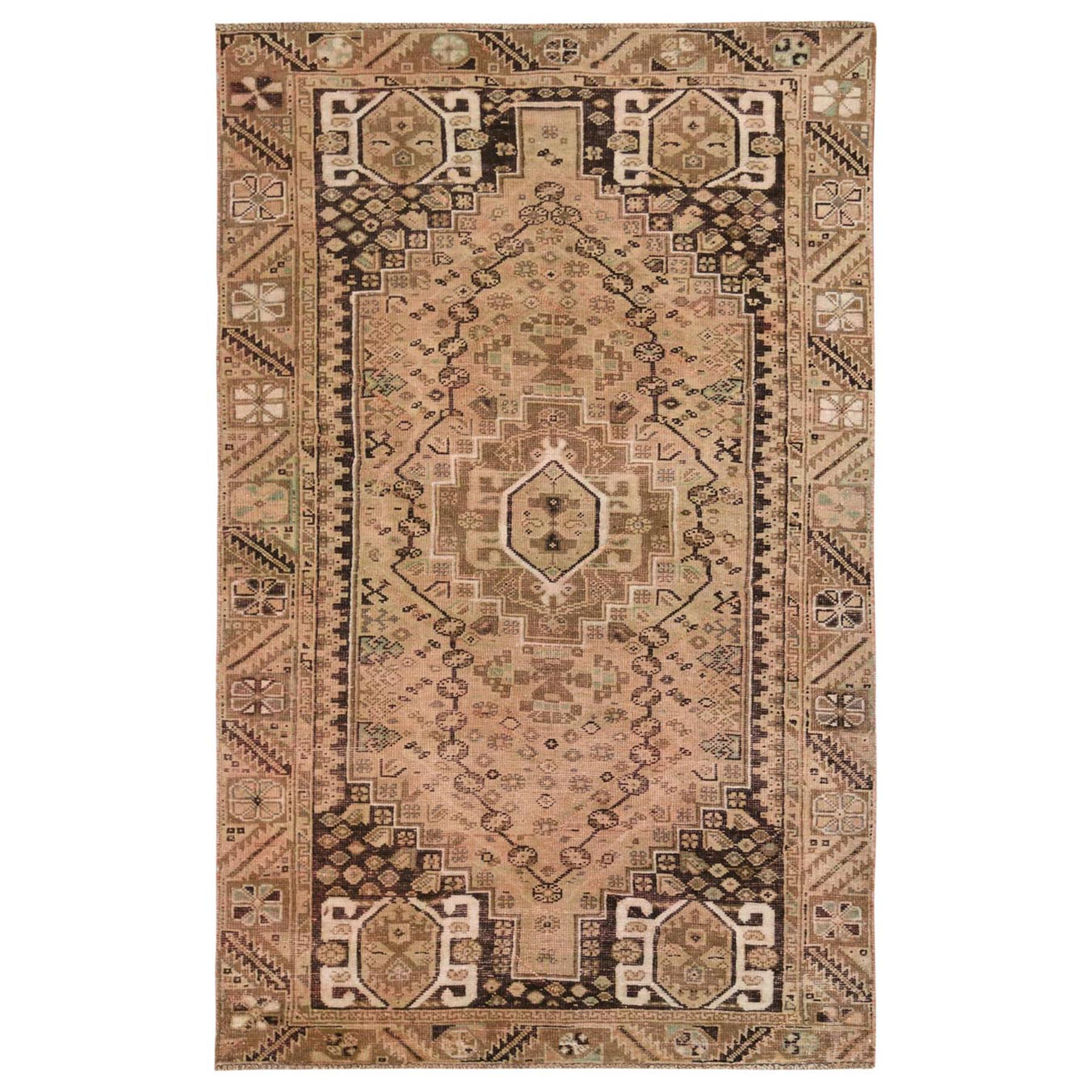 "5'x8'1"" Brown Persian Qashqai Worn Down Bohemian Old Clean Organic Wool Hand Knotted Oriental Rug"