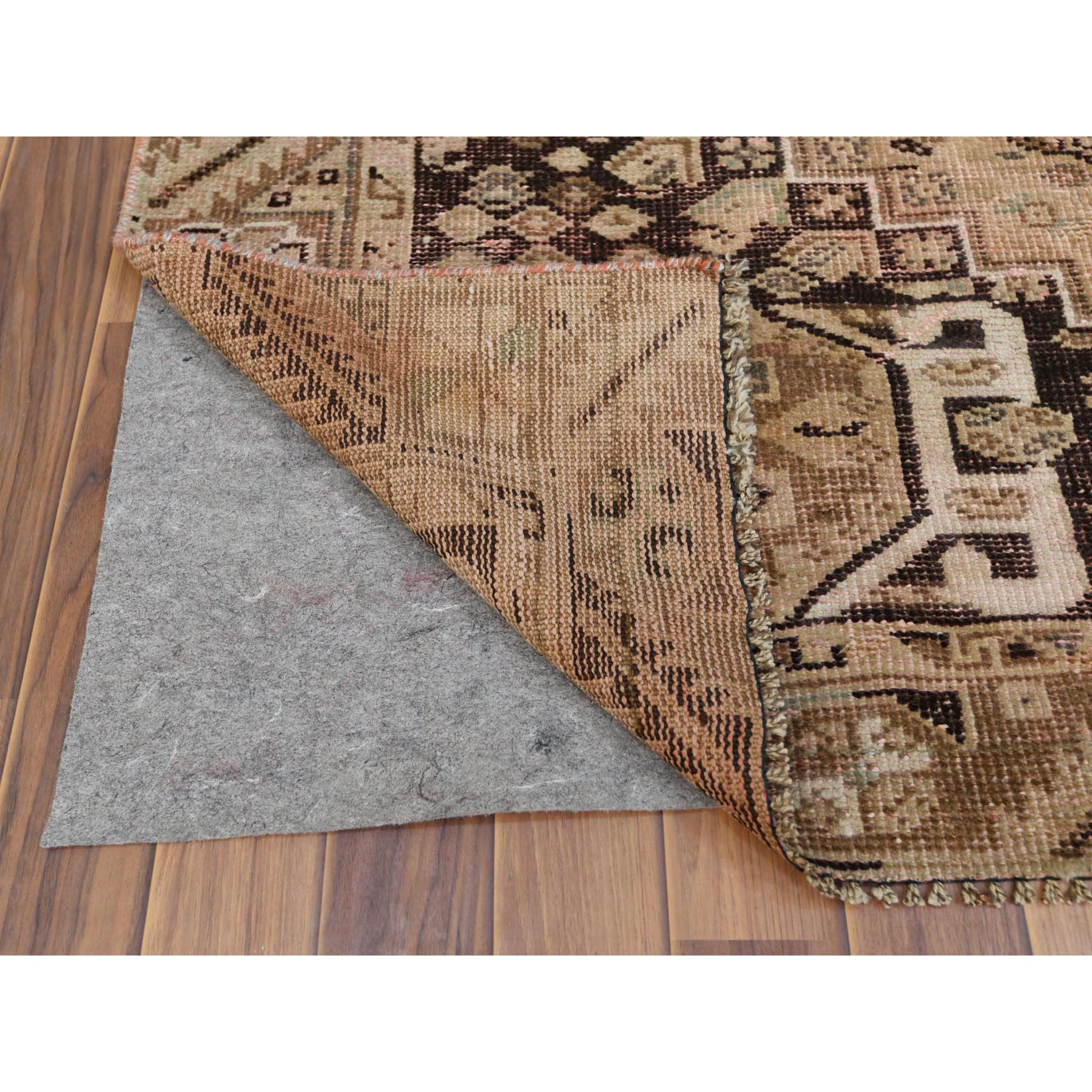 "5'x8'1"" Brown Persian Qashqai Worn Down Bohemian Old Clean Organic Wool Hand Knotted Oriental Rug"