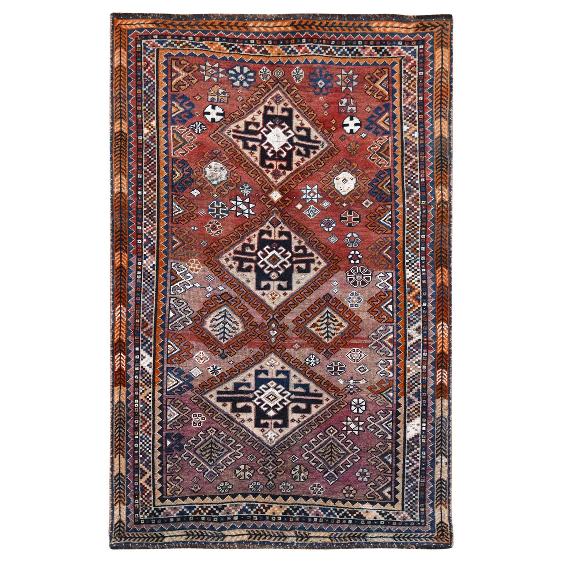 """4'2""""x6'3"""" Pure Wool Purple Hand Knotted Persian Shiraz Bohemian Old Sheared Low Clean Oriental Rug"""