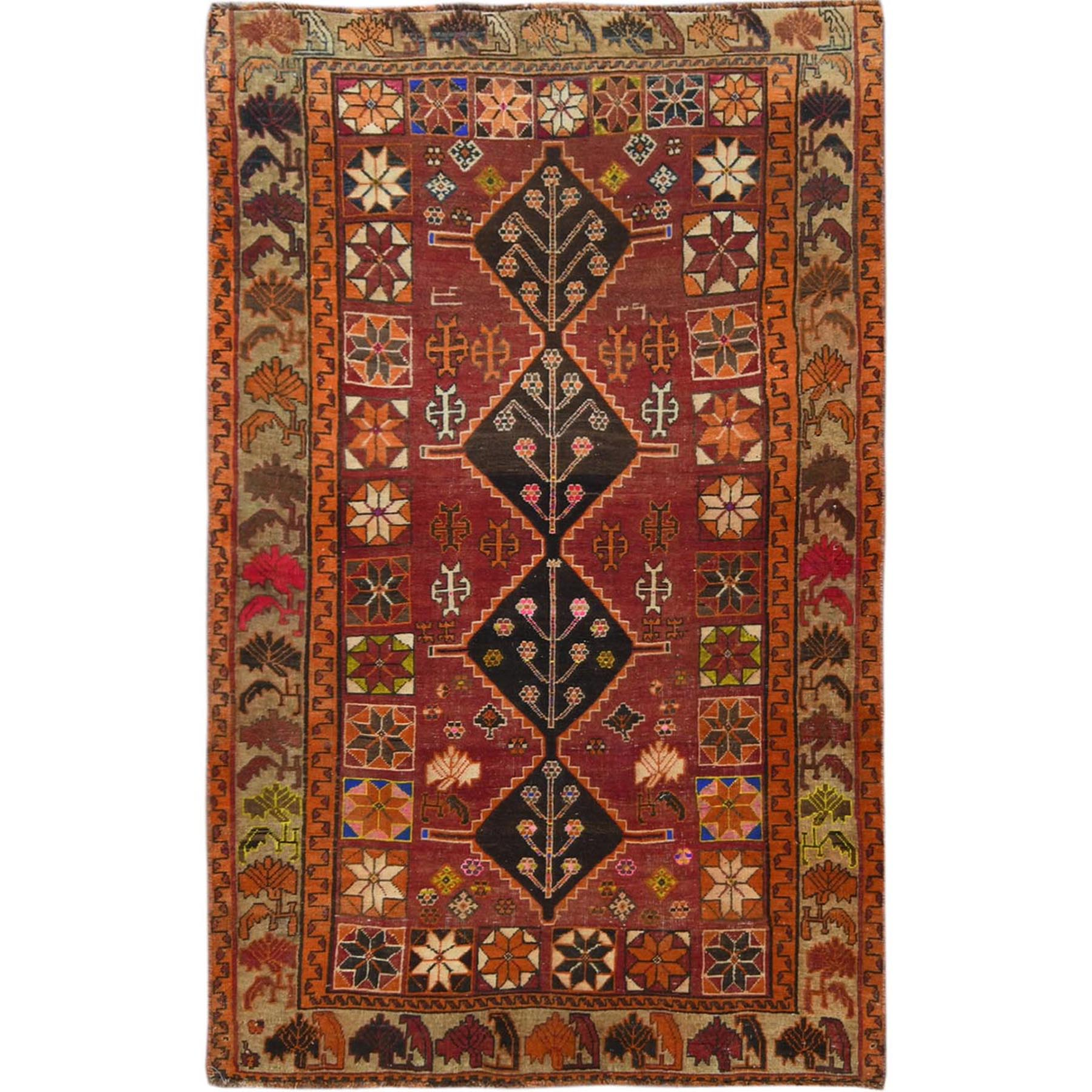 "4'3""x7' Vintage Persian Qashqai Worn Down Excellent Condition Geometric Design Clean Red Hand Knotted Oriental Rug"