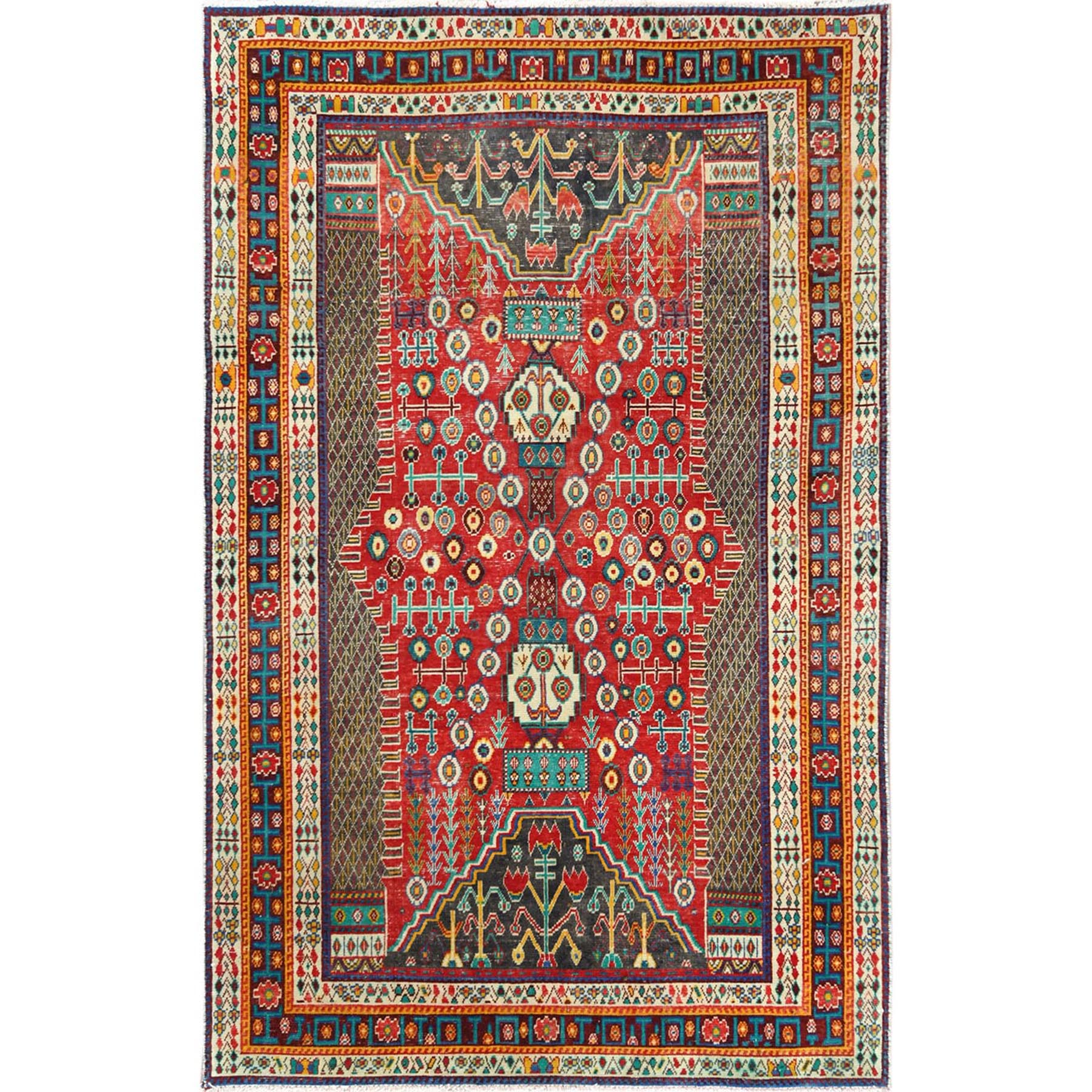 "4'10""x7'8"" Colorful Semi Antique Persian Shiraz Hand Knotted Sheared Low Organic Wool Clean Oriental Rug"