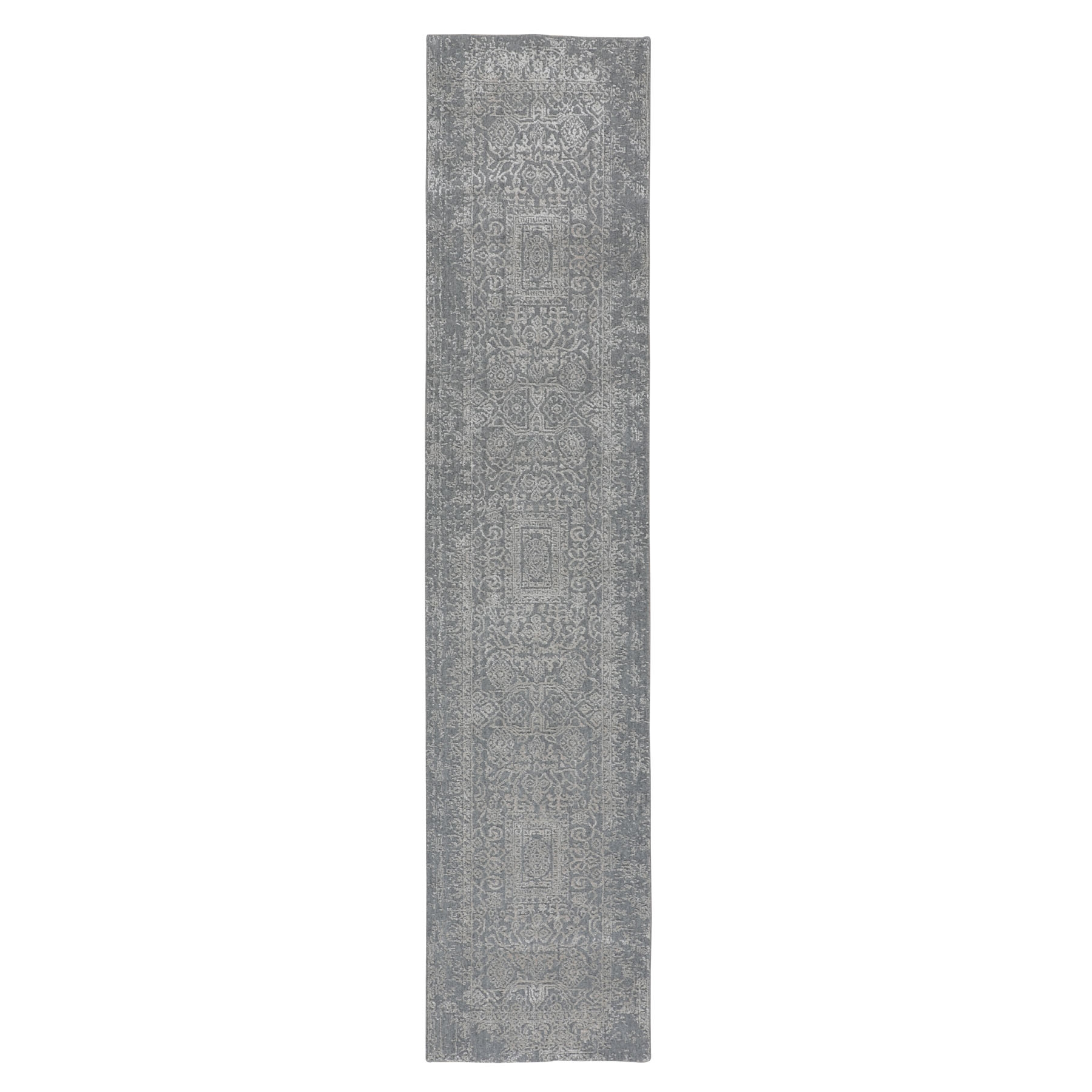 "2'5""X12'1"" Gray Fine Jacquard Hand Loomed Modern Wool And Art Silk Runner Oriental Rug moae800c"