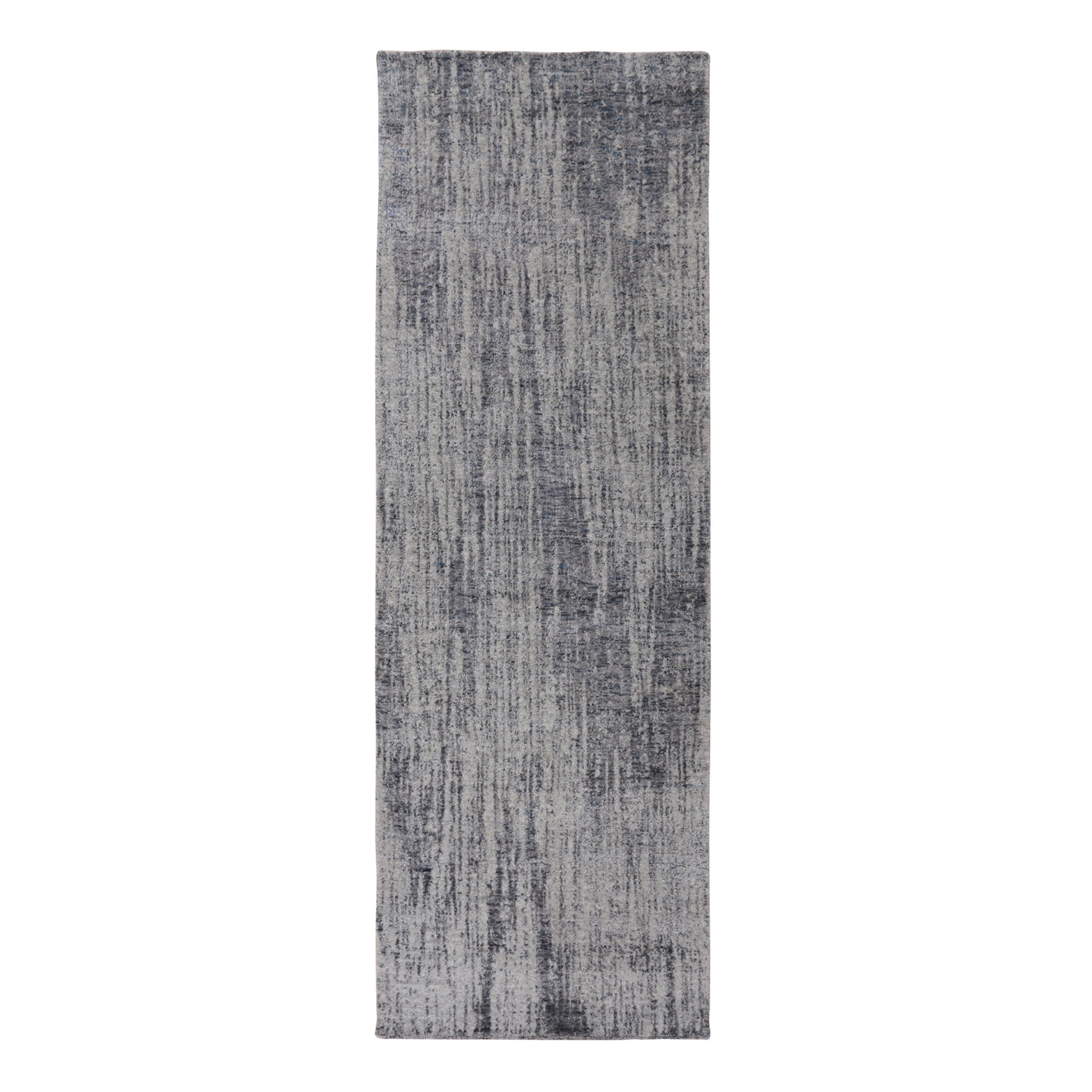 "2'5""X7'10"" Gray Fine Jacquard Hand Loomed Modern Wool And Art Silk Runner Oriental Rug moae80a0"
