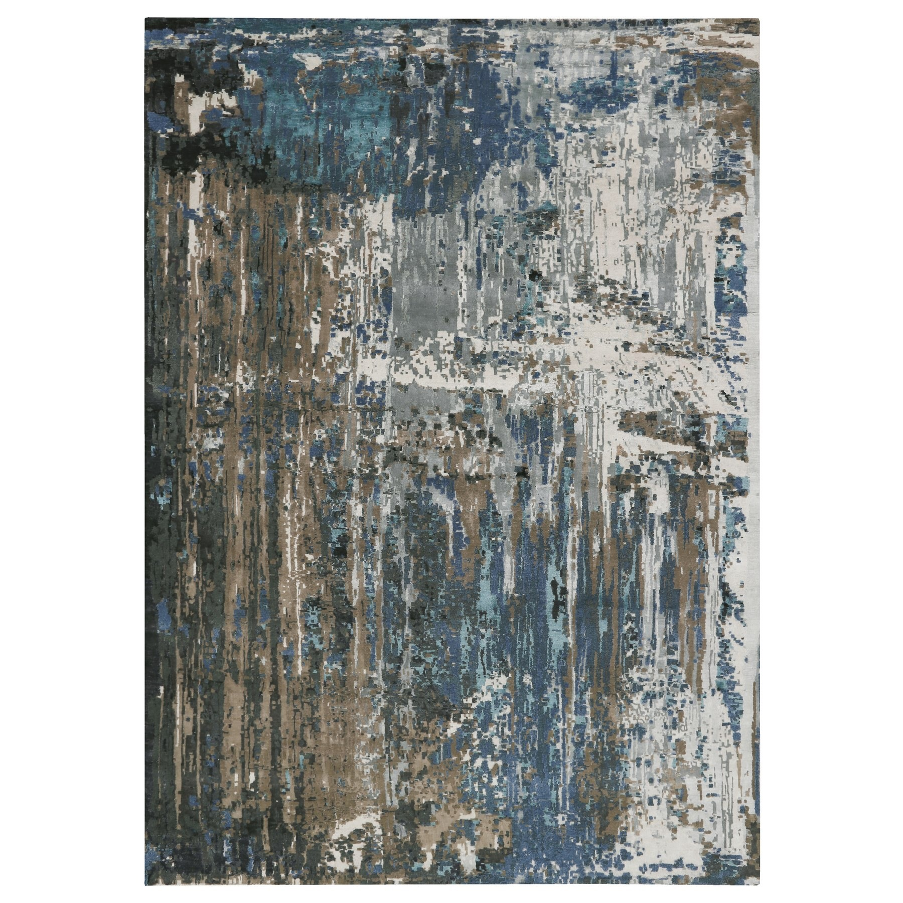 "9'9""x'13'9"" Blue Abstract Design Wool and Silk Hand Knotted Oriental Rug"