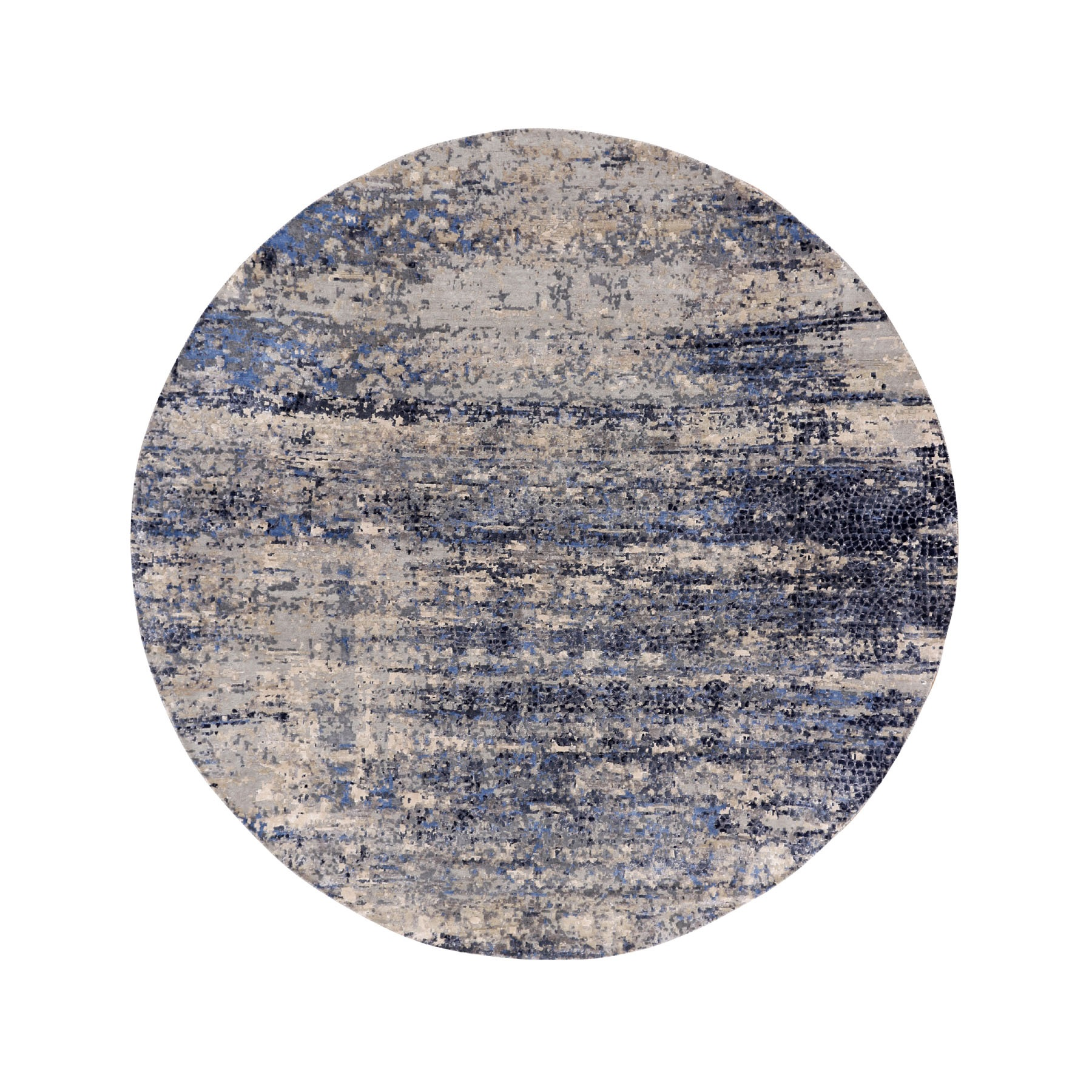 9'X9' Charcoal Black Broken Mosaic Design Wool And Silk Hand Knotted Round Oriental Rug moae80ae